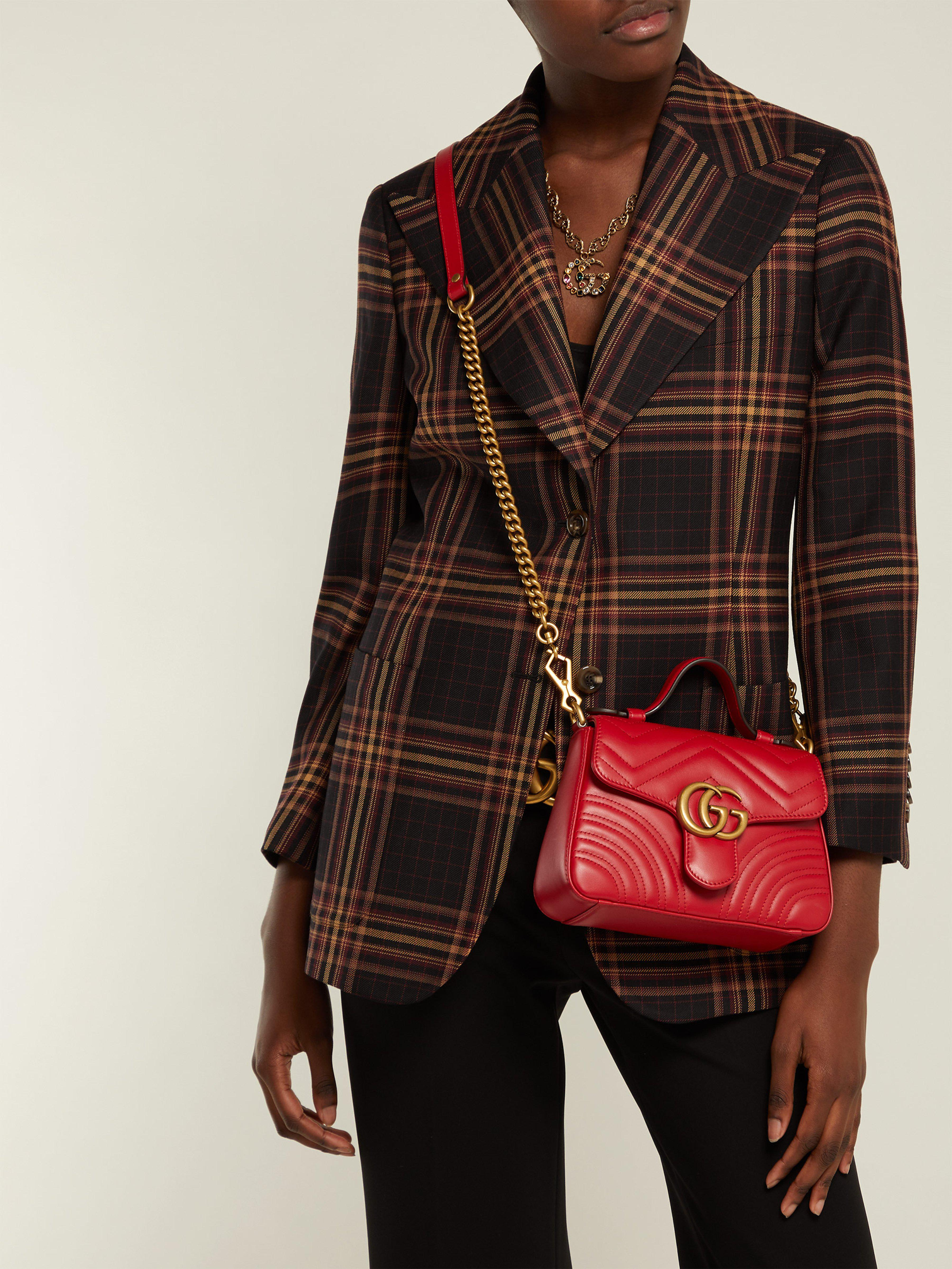 73d15b3ea14 Gucci - Red Gg Marmont Quilted Leather Cross Body Bag - Lyst. View  fullscreen