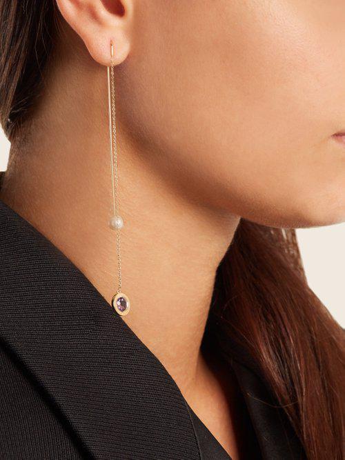 Delfina Delettrez Fishing For Compliments Amethyst Earring in Pearl (Metallic) - Save 16%