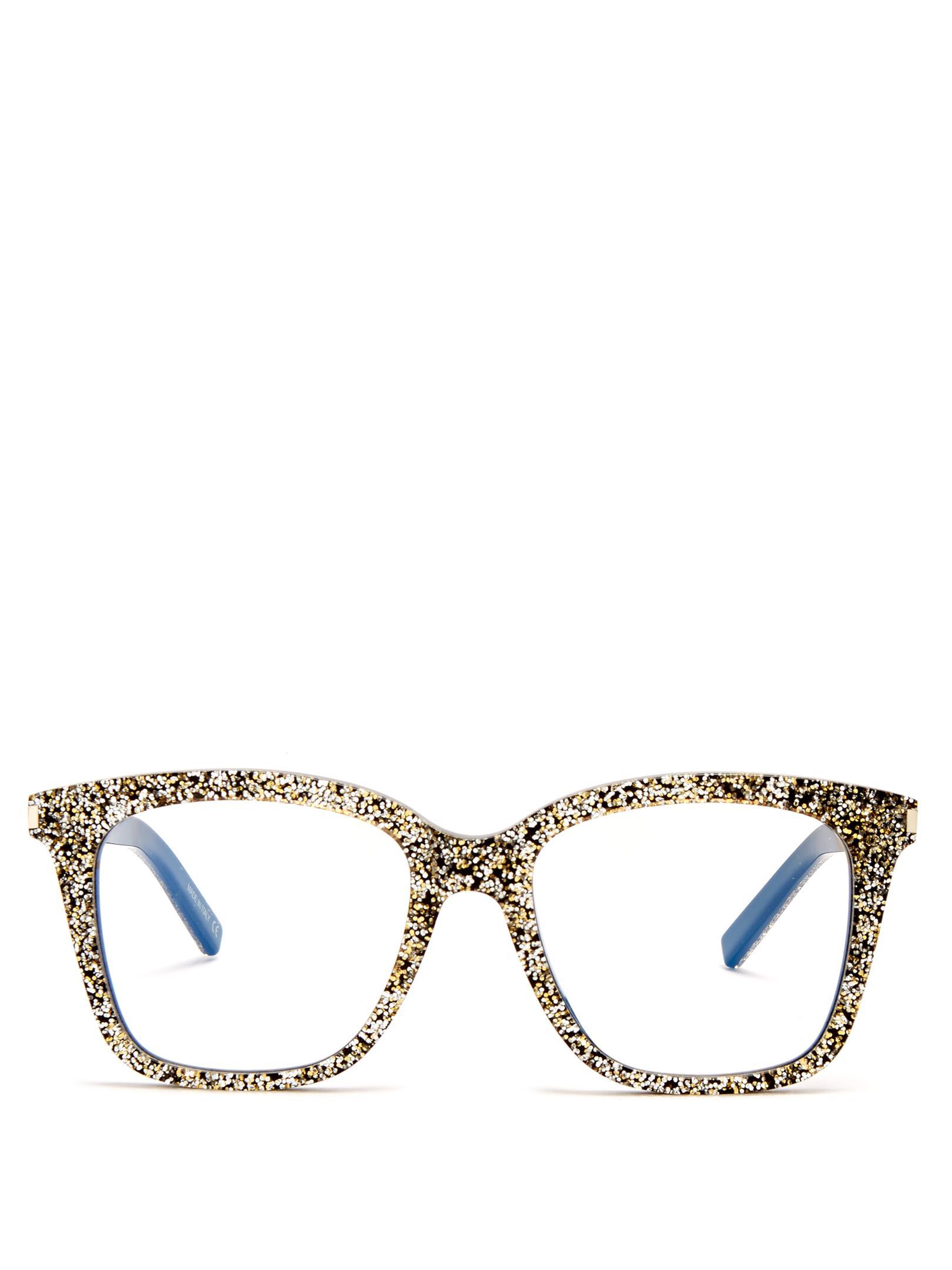 387d938cc7 Lyst - Saint Laurent D-frame Glitter-acetate Glasses in Metallic