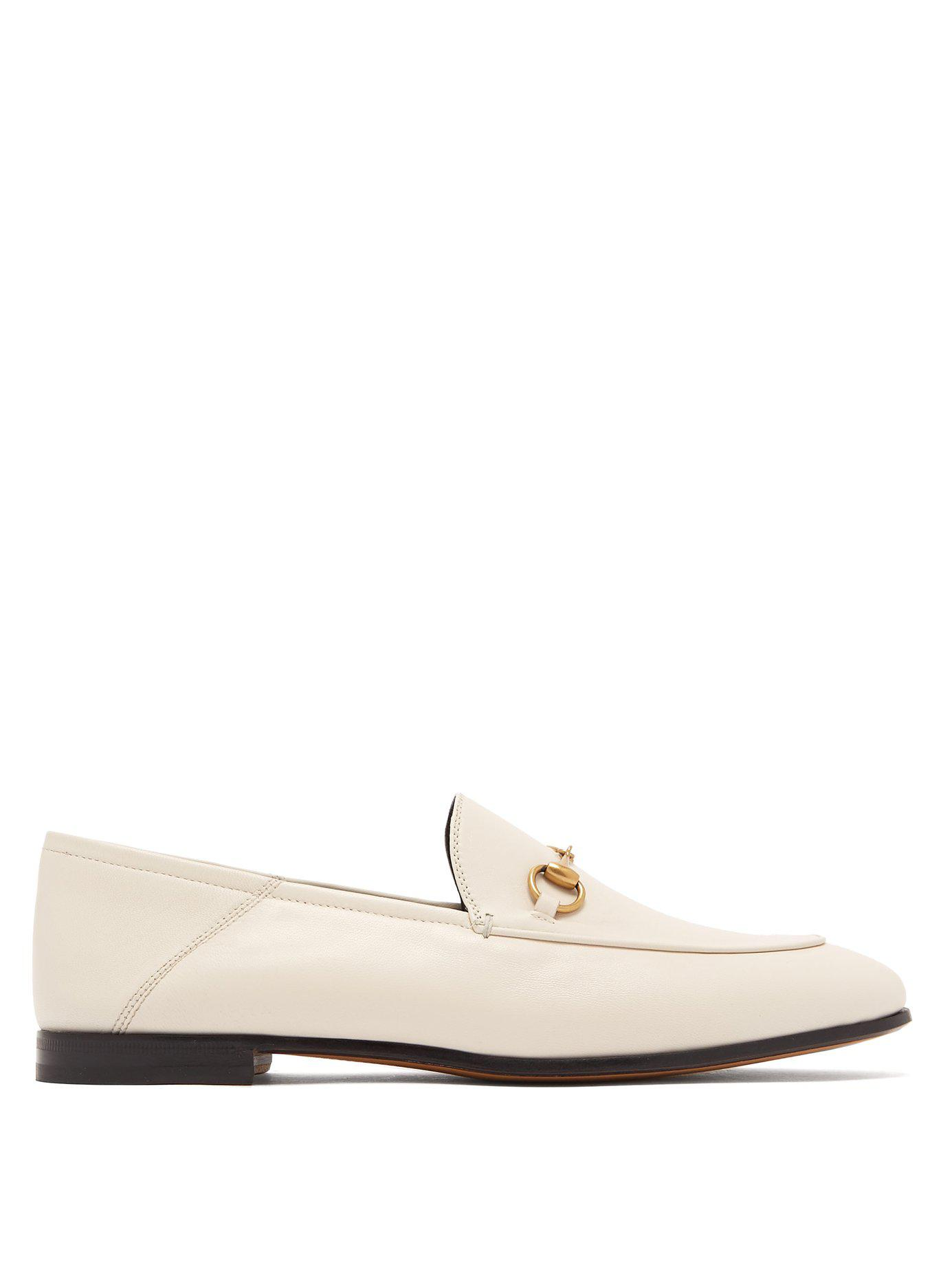 edca46a848f Lyst - Gucci Brixton Collapsible Heel Leather Loafers in White