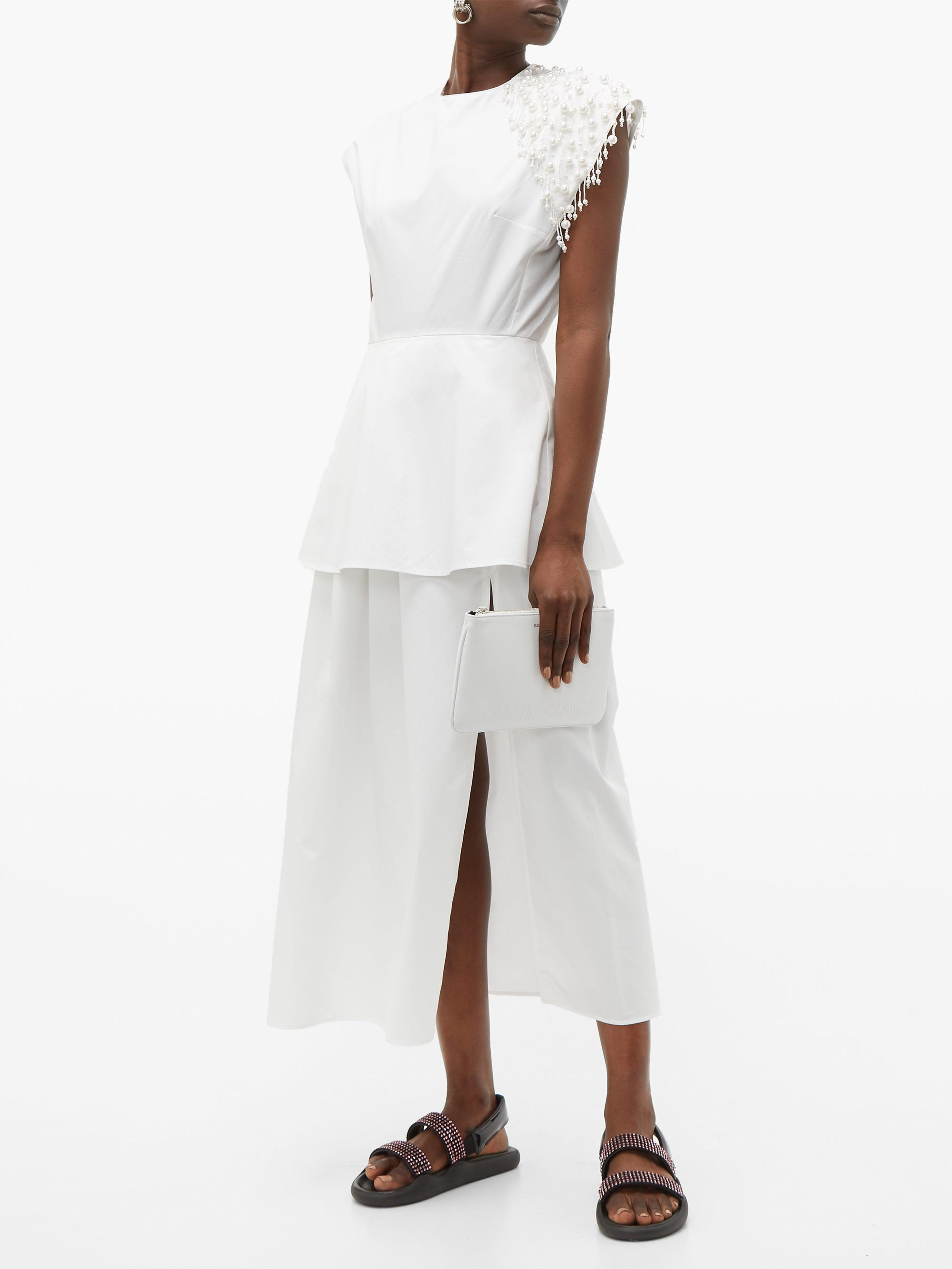 Robe en popeline de coton à ornements perles Coton Christopher Kane en coloris Blanc