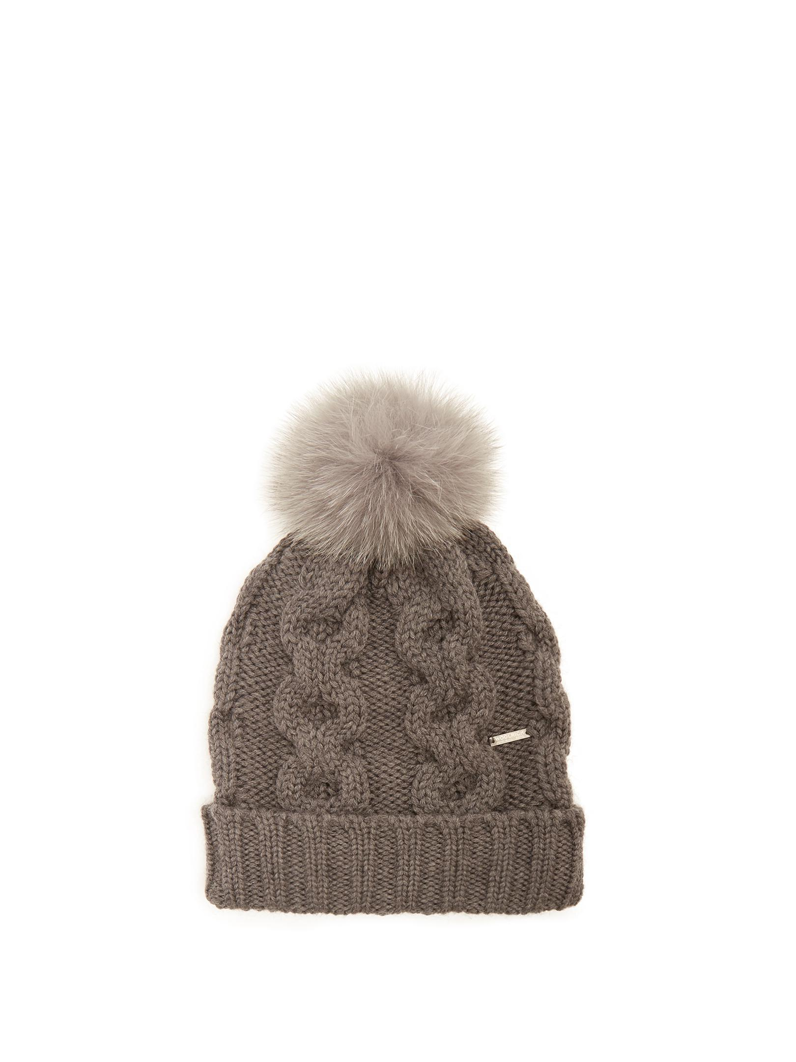 50bf1ce478786 Lyst - Woolrich Serenity Fur-pompom Cable-knit Wool Beanie Hat in Gray