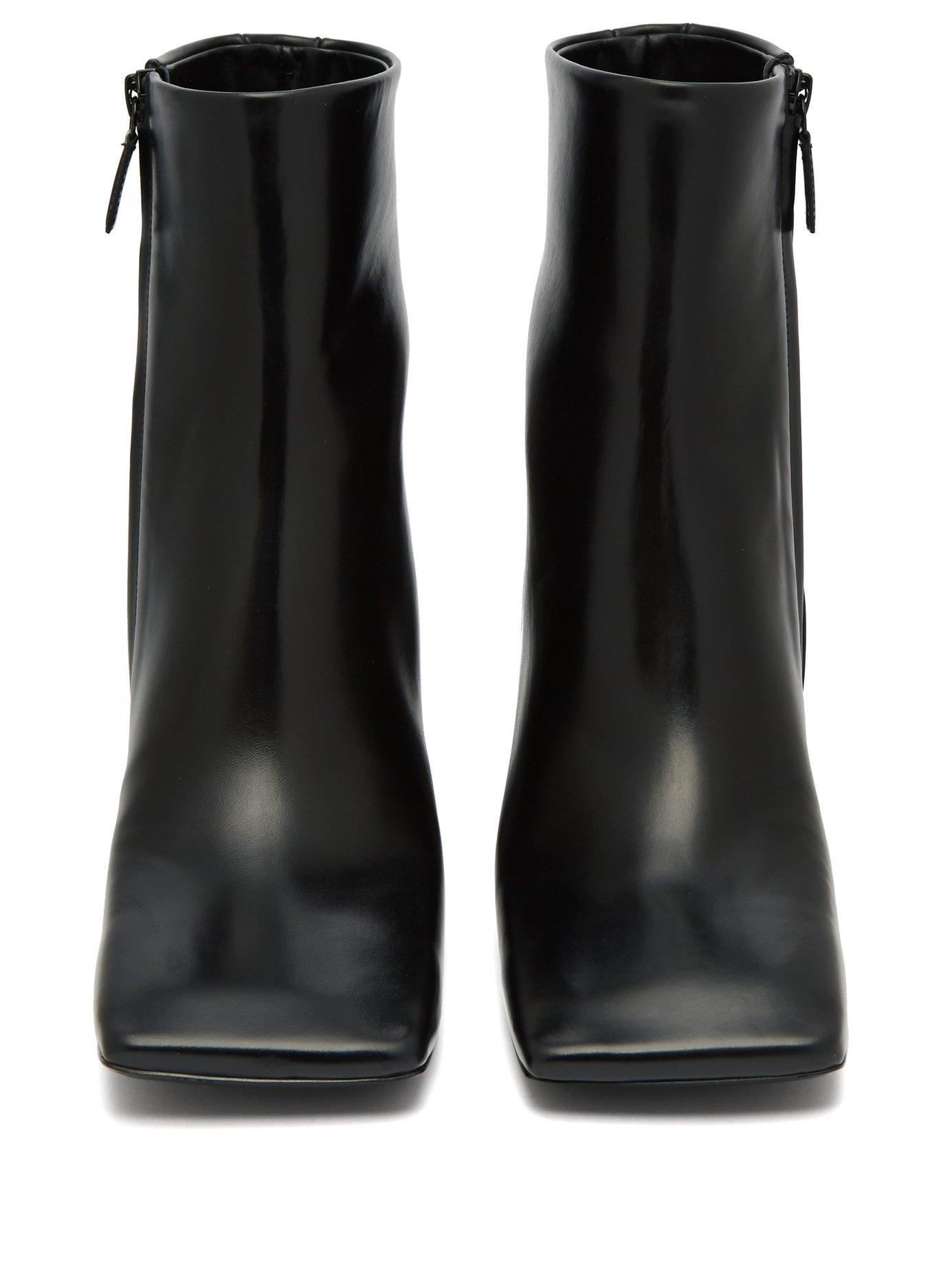 3851f01b4f36 Balenciaga - Black Double Square Block Heel Leather Boots - Lyst. View  fullscreen