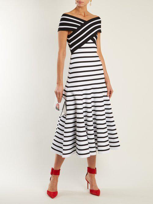 Carolina Herrera Synthetic V Neck Flared Skirt Striped