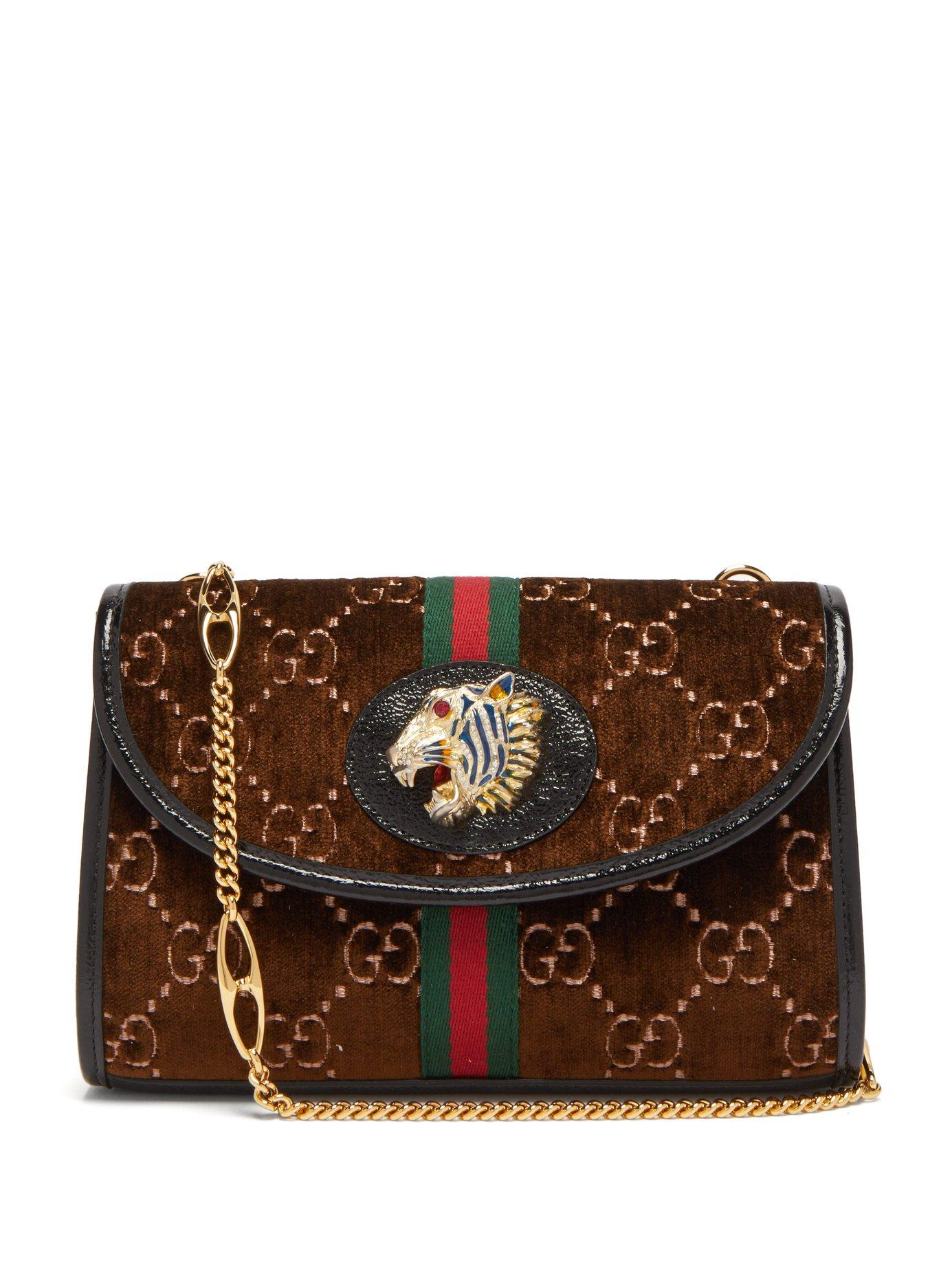 c3c1cf5169e Lyst - Gucci Rajah Gg Monogram Velvet Cross Body Bag in Brown