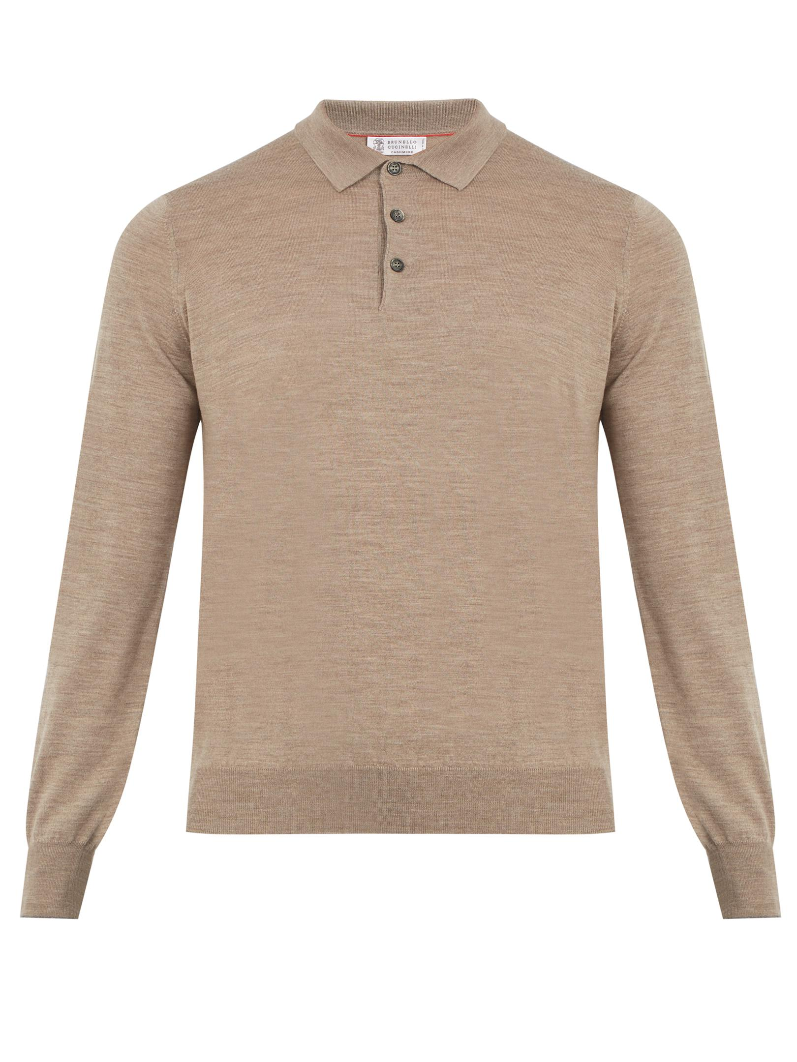 Lyst brunello cucinelli long sleeved wool blend polo for Long sleeve wool polo shirts