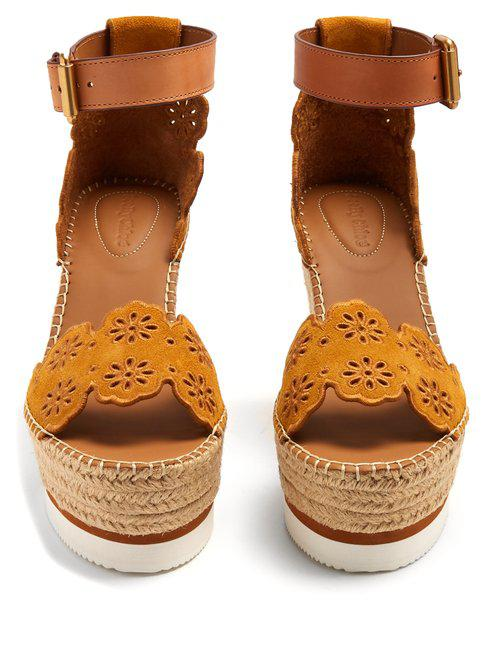 1b1b36e5011 See By Chloé Yellow Flower Laser-cut Suede Wedge Espadrilles
