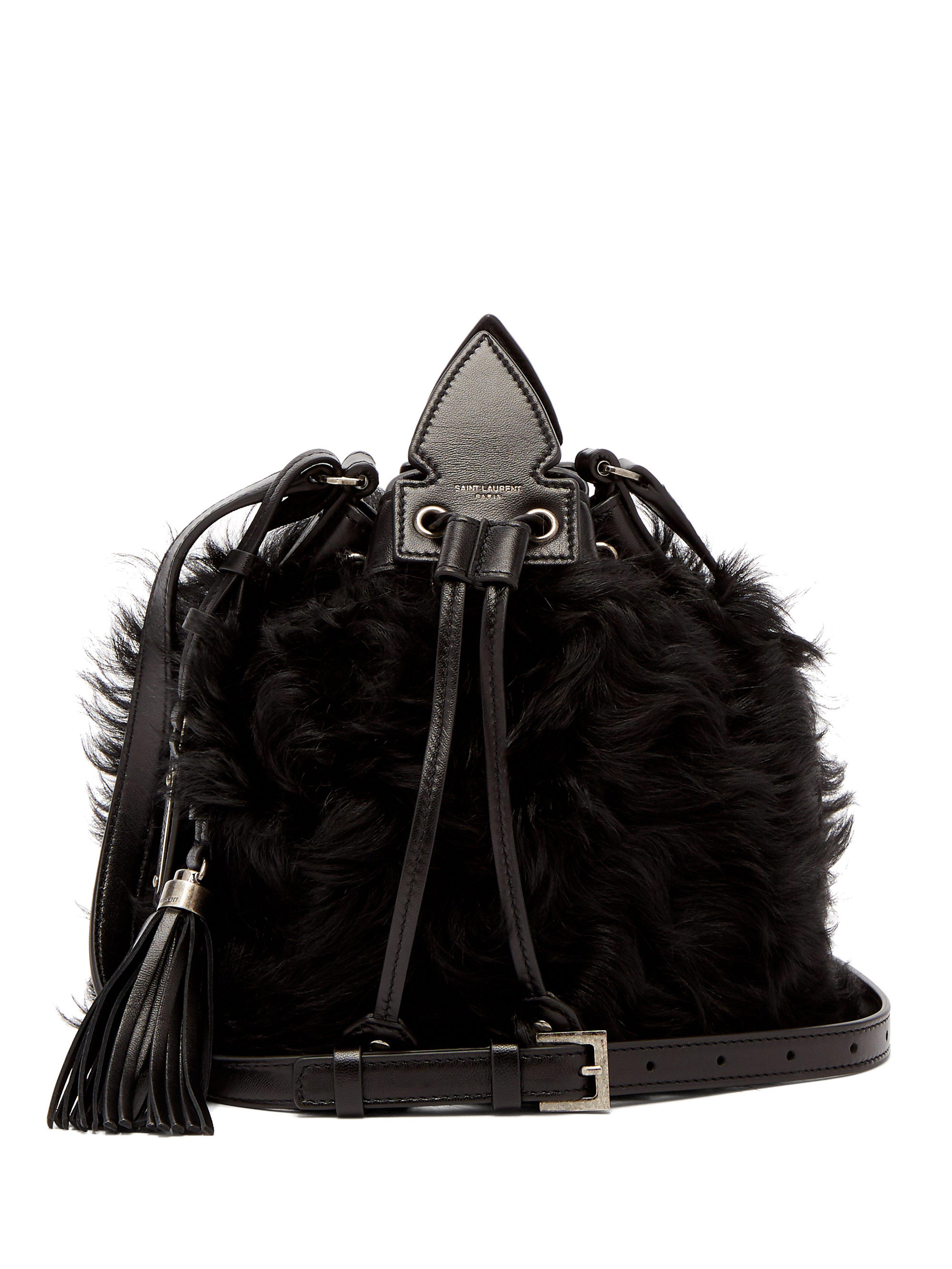 613526cf70ba Saint Laurent Anja Shearling Crossbody Bag in Black - Lyst