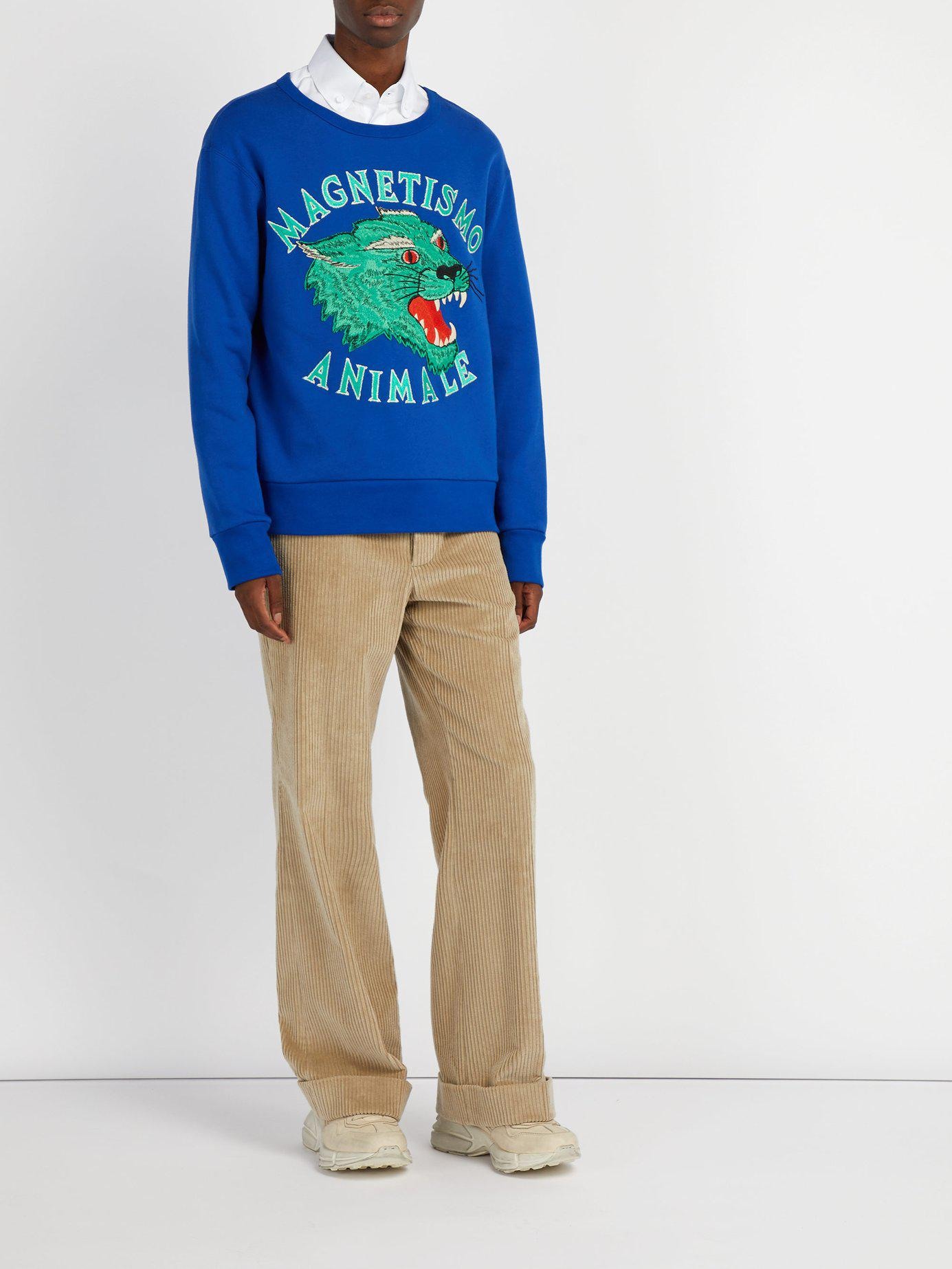 3883b69e211 Lyst - Gucci Panther Embroidered Cotton Sweatshirt in Blue for Men