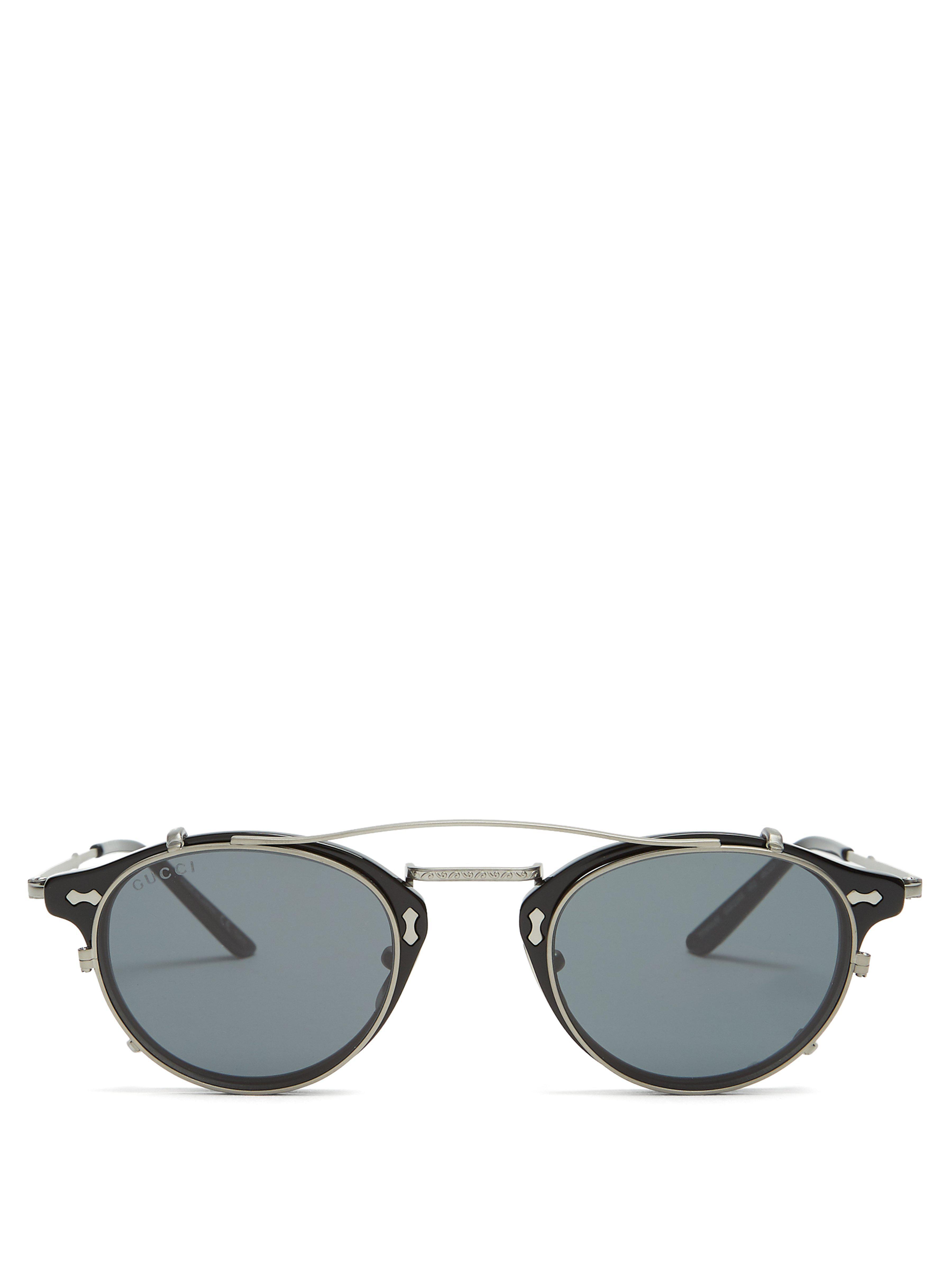 a2ad6ebf3e0 Gucci - Black Detachable Lens Round Frame Acetate Sunglasses for Men - Lyst.  View fullscreen