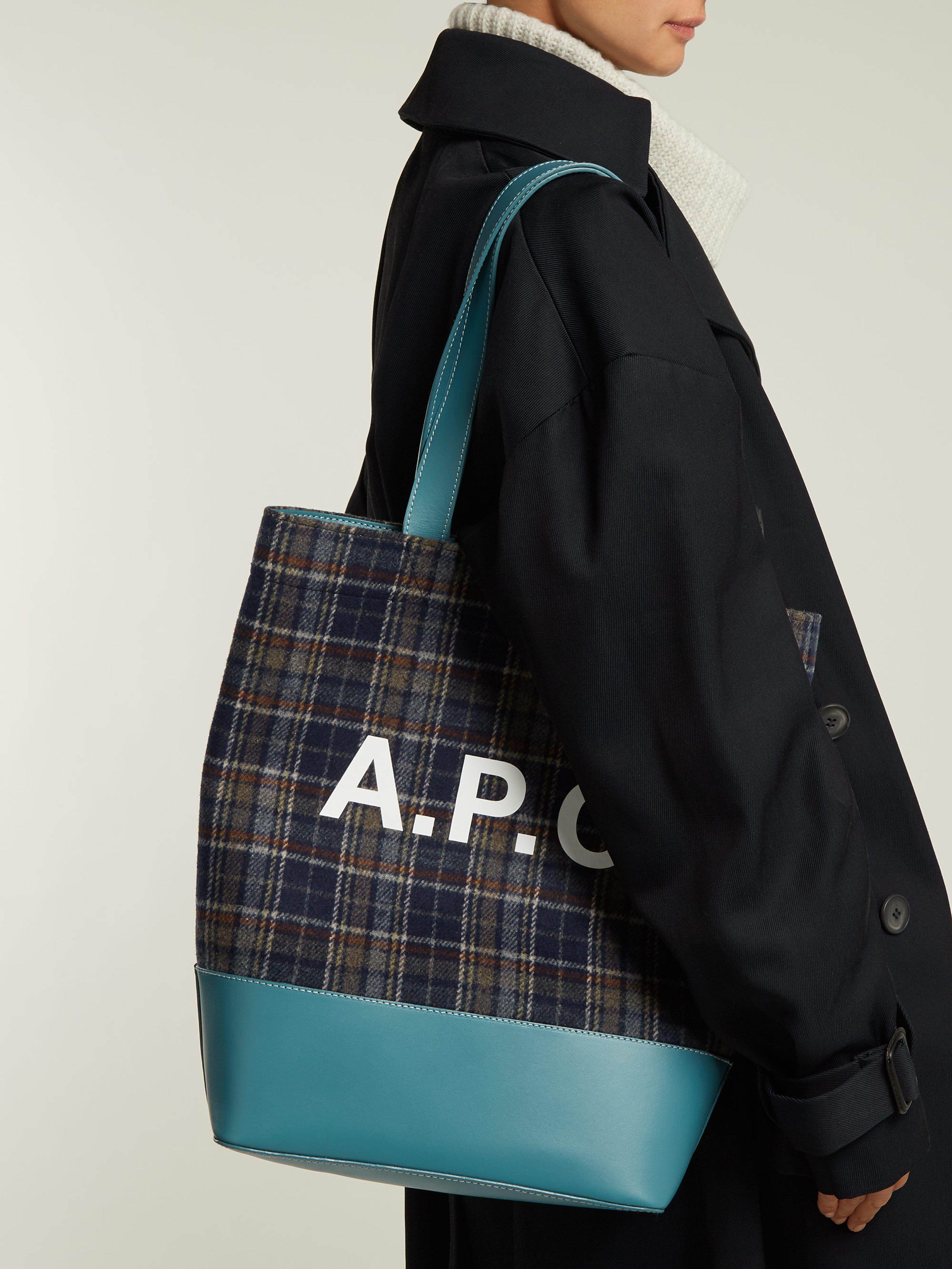 A.P.C. Axelle Checked Felt Tote Bag in Blue