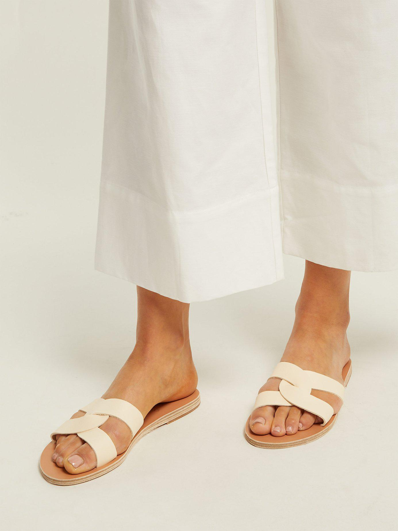 5d4d7a42bae80 Ancient Greek Sandals Desmos Leather Slides in White - Lyst