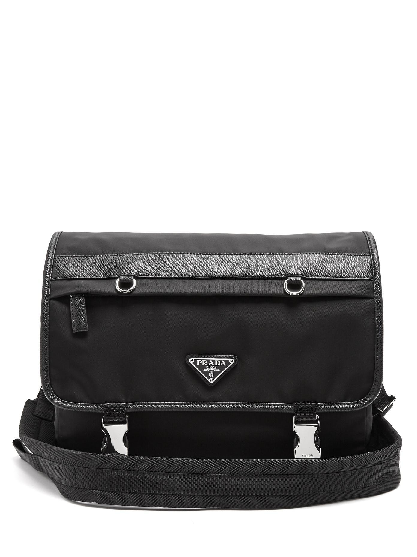 ... usa prada black leather trimmed nylon messenger bag for men lyst. view  fullscreen 69424 27abe 43dbc7a07f6e0