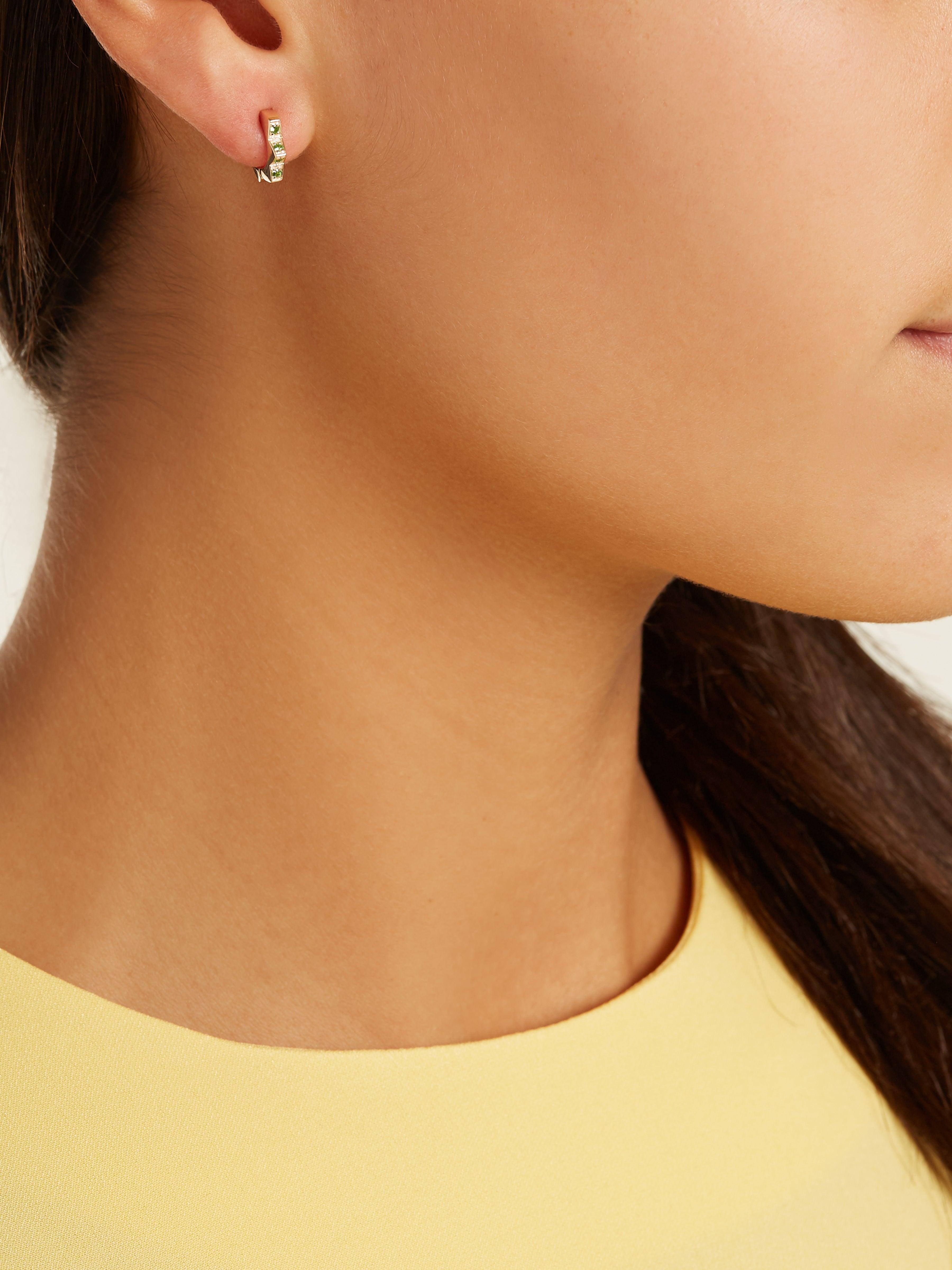 Alison Lou Tsavorite & Yellow-gold Stelle Single Earring in Green