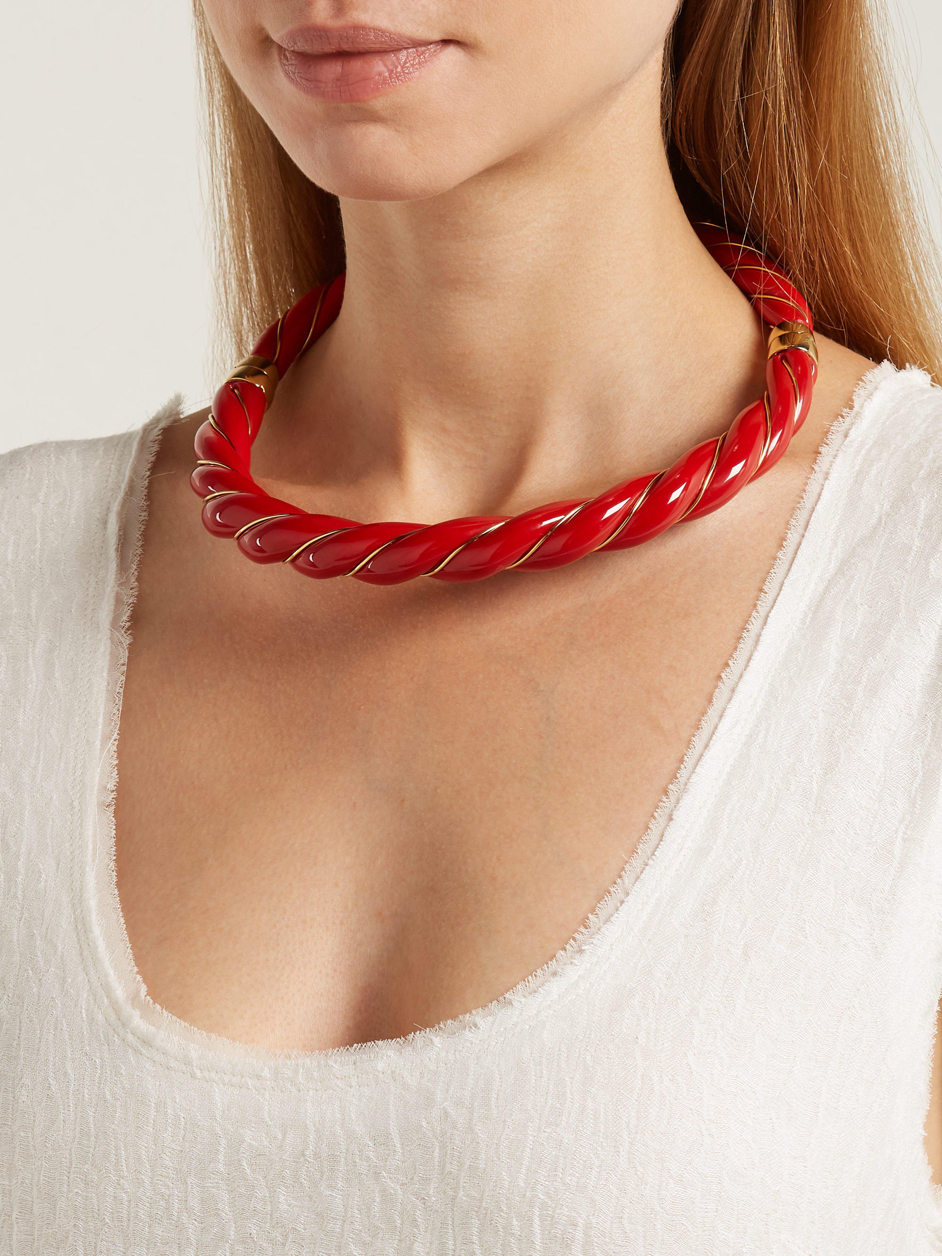 Aurelie Bidermann Linen Diana Enamel Necklace in Red