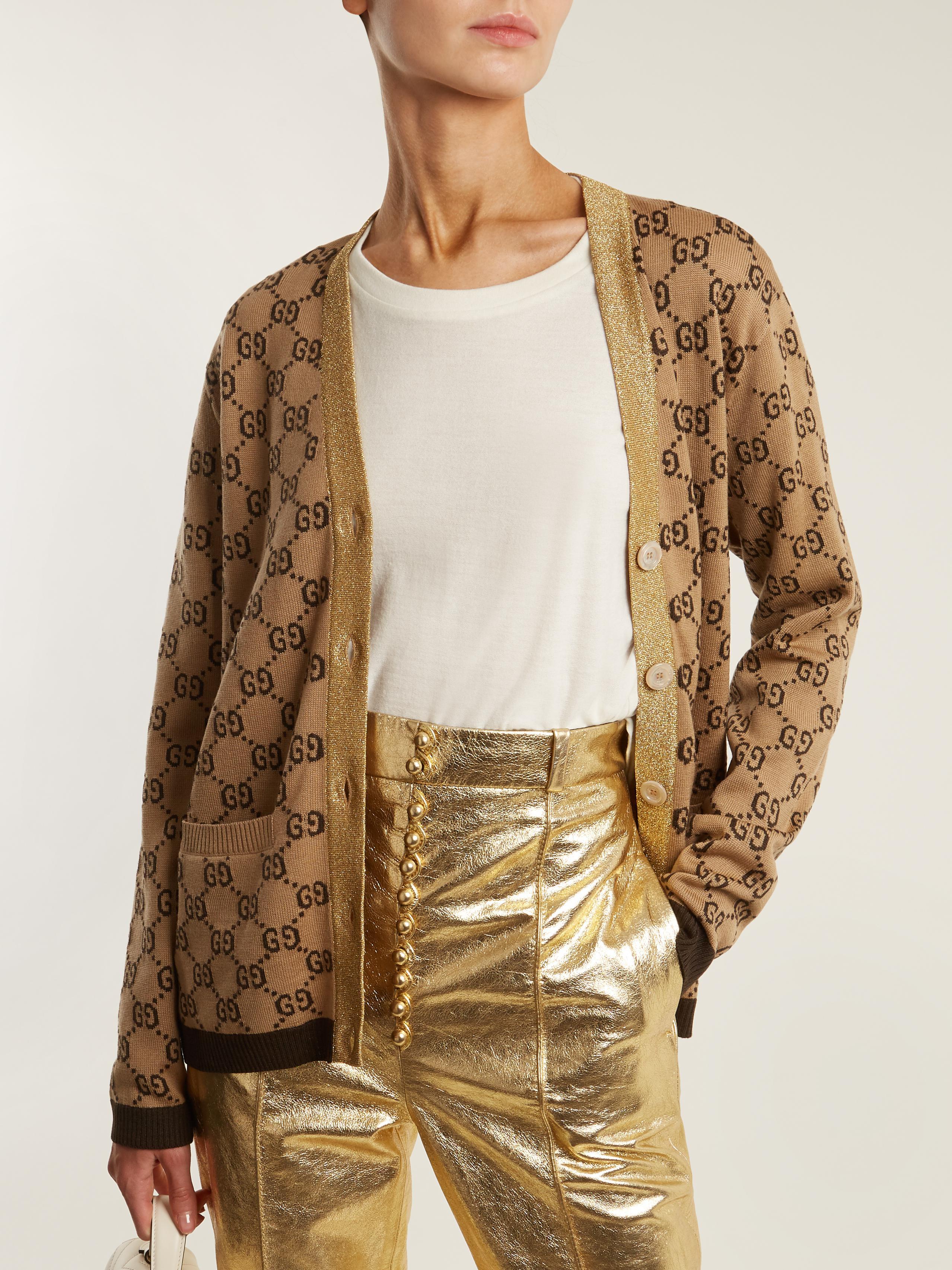 4894f1762 Gucci Gg-jacquard Wool Cardigan in Natural - Lyst