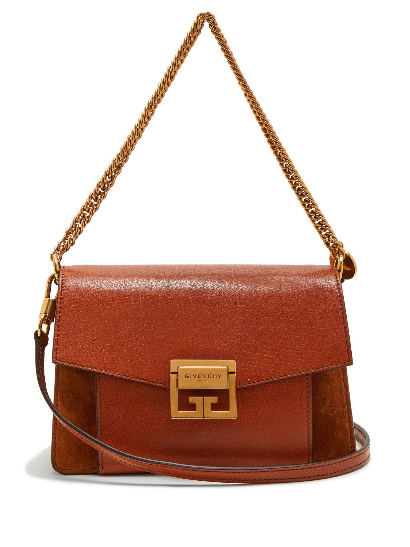 e40b3a205e6a9 Givenchy - Brown Gv3 Mini Suede And Leather Cross Body Bag - Lyst. View  fullscreen