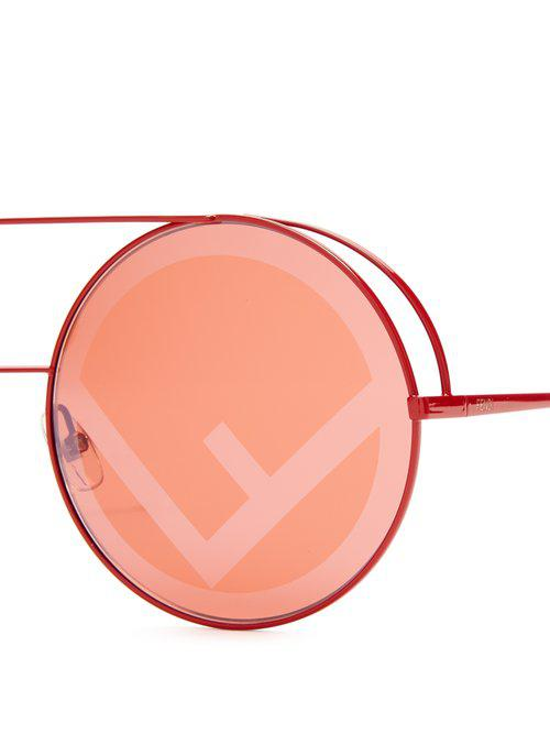 Fendi Large Round Frame Metal Sunglasses in Pink