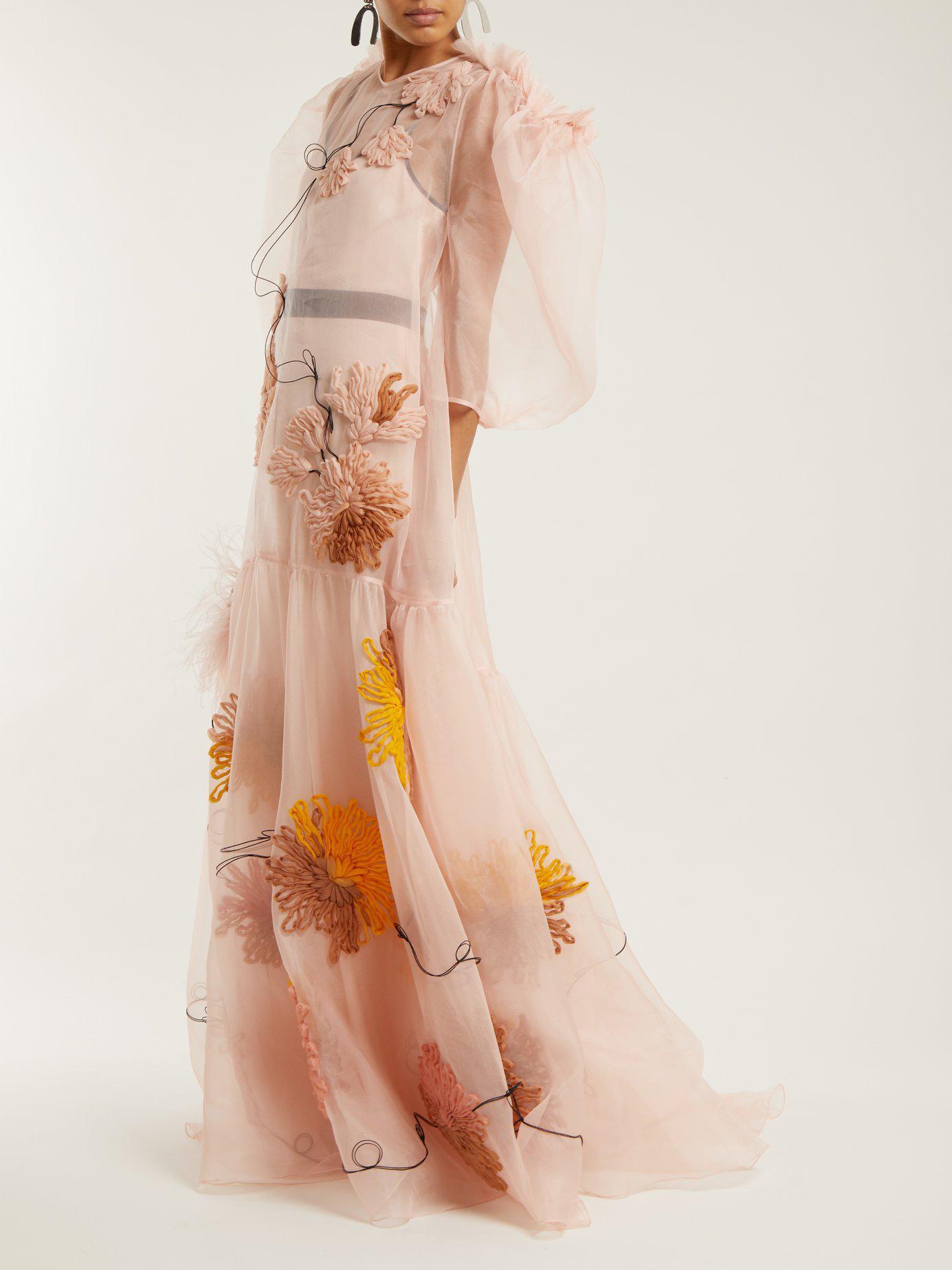 Outlet Order Online Sale Marketable Aurorah floral-embroidered silk dress Roksanda Ilincic Fast Delivery Ebay Cheap Price Sale Inexpensive nj33xG8ti