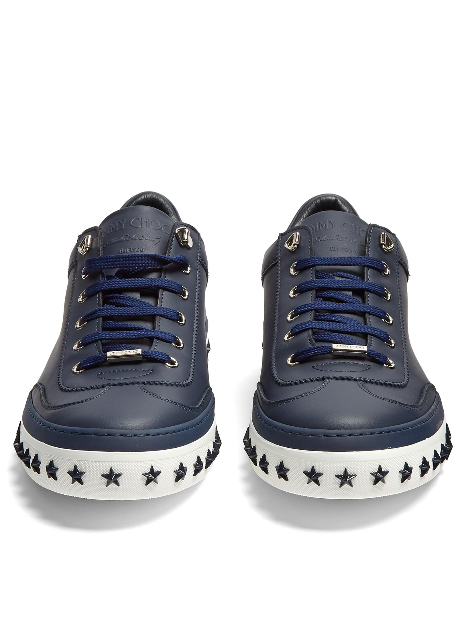 Jimmy Choo Ace Low-top Leather Trainers in Navy (Blue) for Men