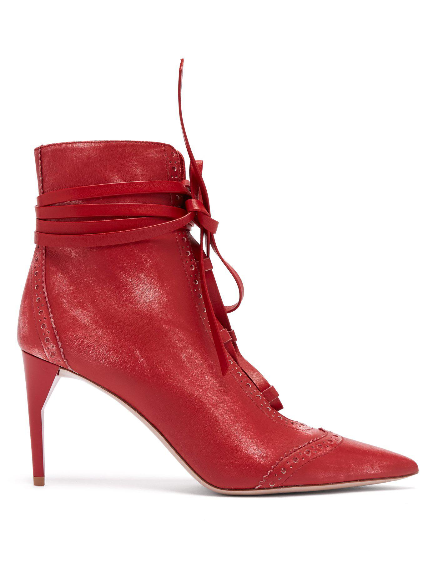 29ed173198682 Lyst - Miu Miu Point Toe Lace Up Leather Ankle Boots in Red