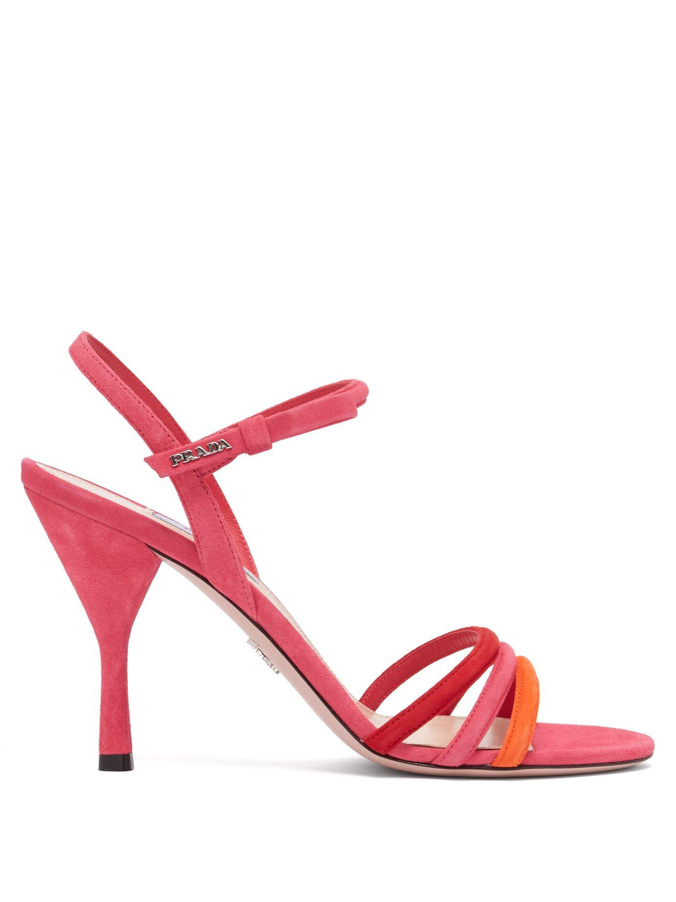 746a6be2755 Women's Pink Trio Strap Slingback Suede And Leather Sandals