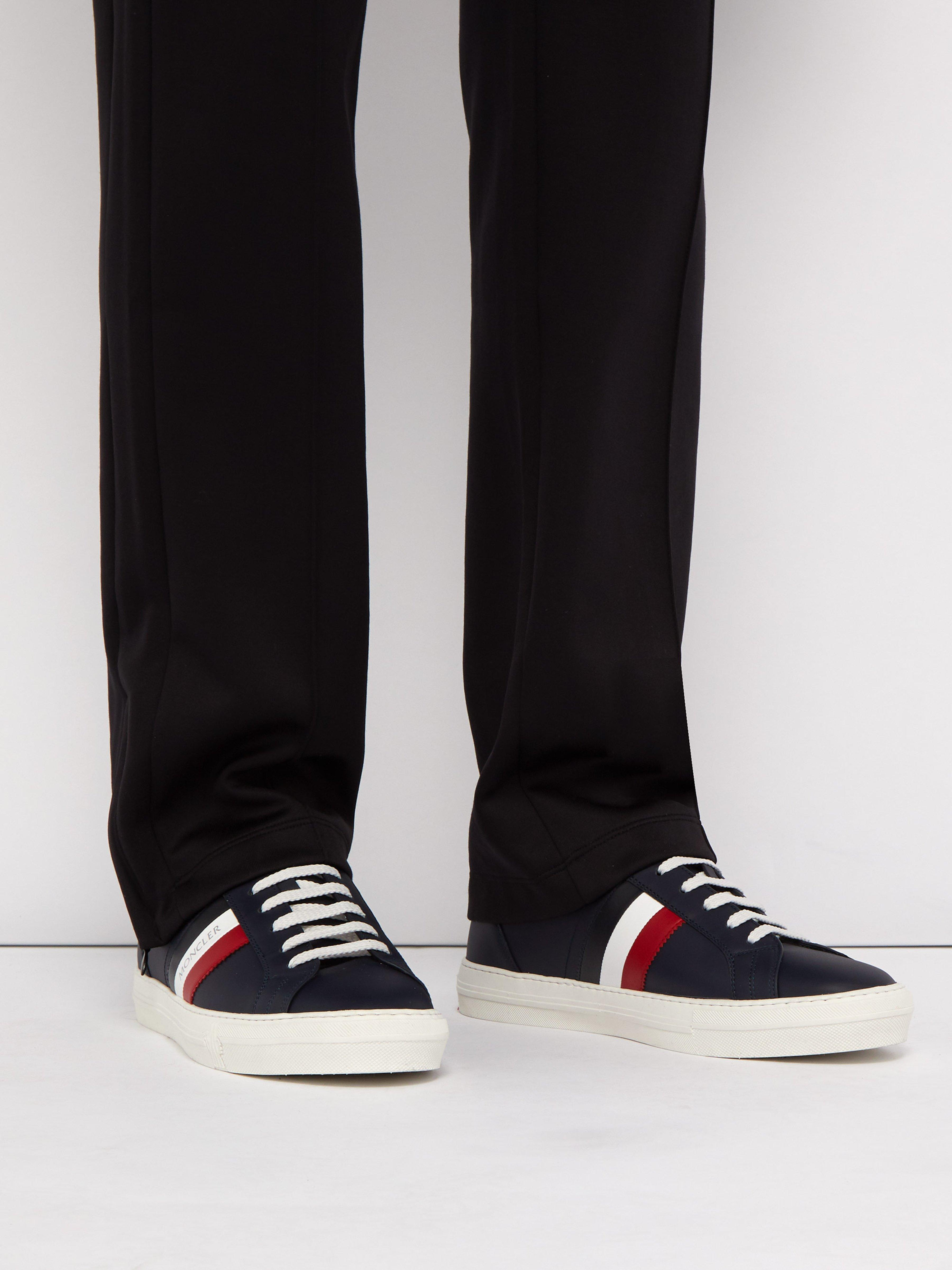 Moncler Suede New Monaco Leather Trainers in Navy Blue (Blue) for Men
