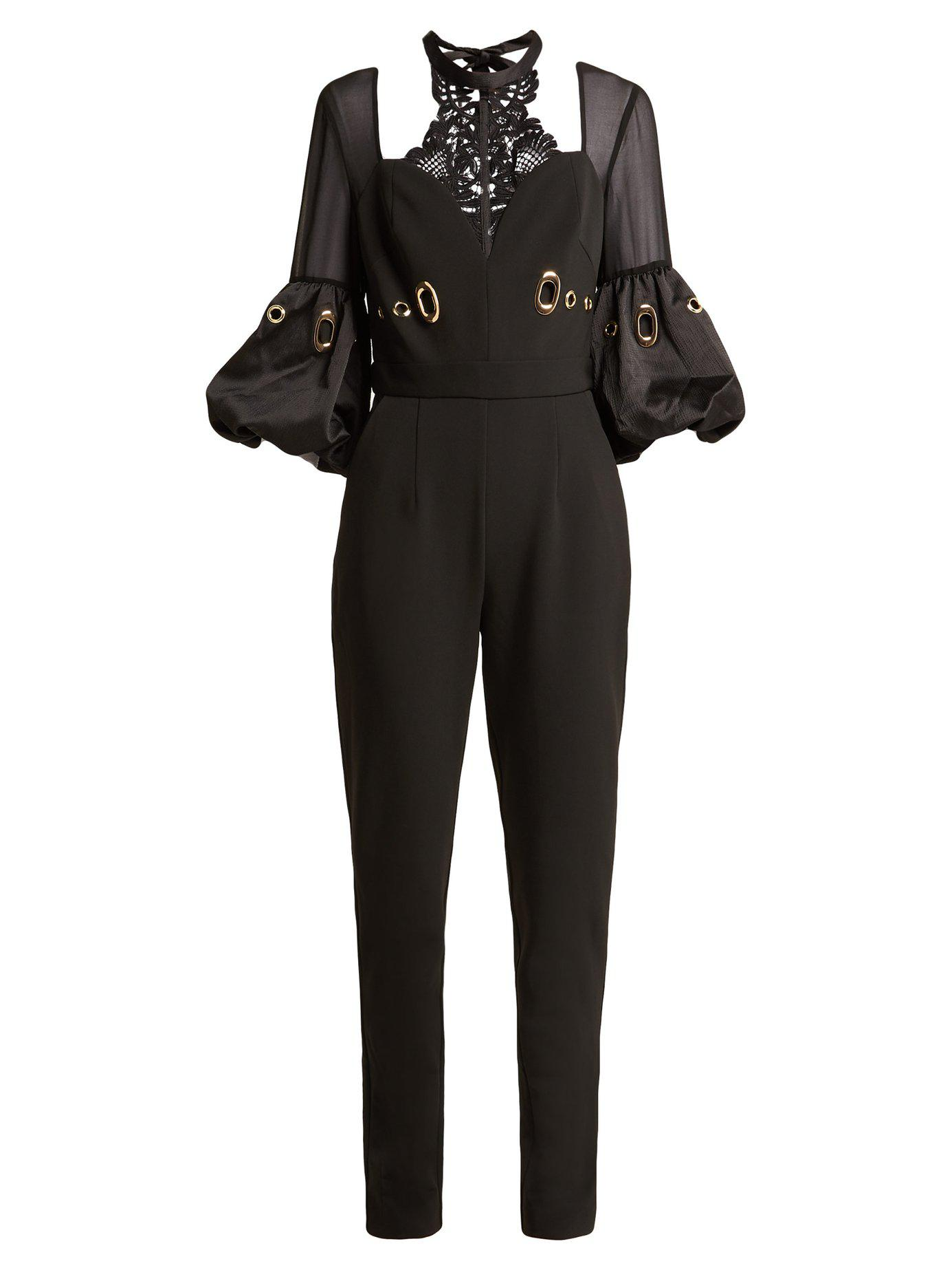 18d530855d94 Lyst - Self-Portrait Balloon Sleeve Lace And Crepe Jumpsuit in Black ...