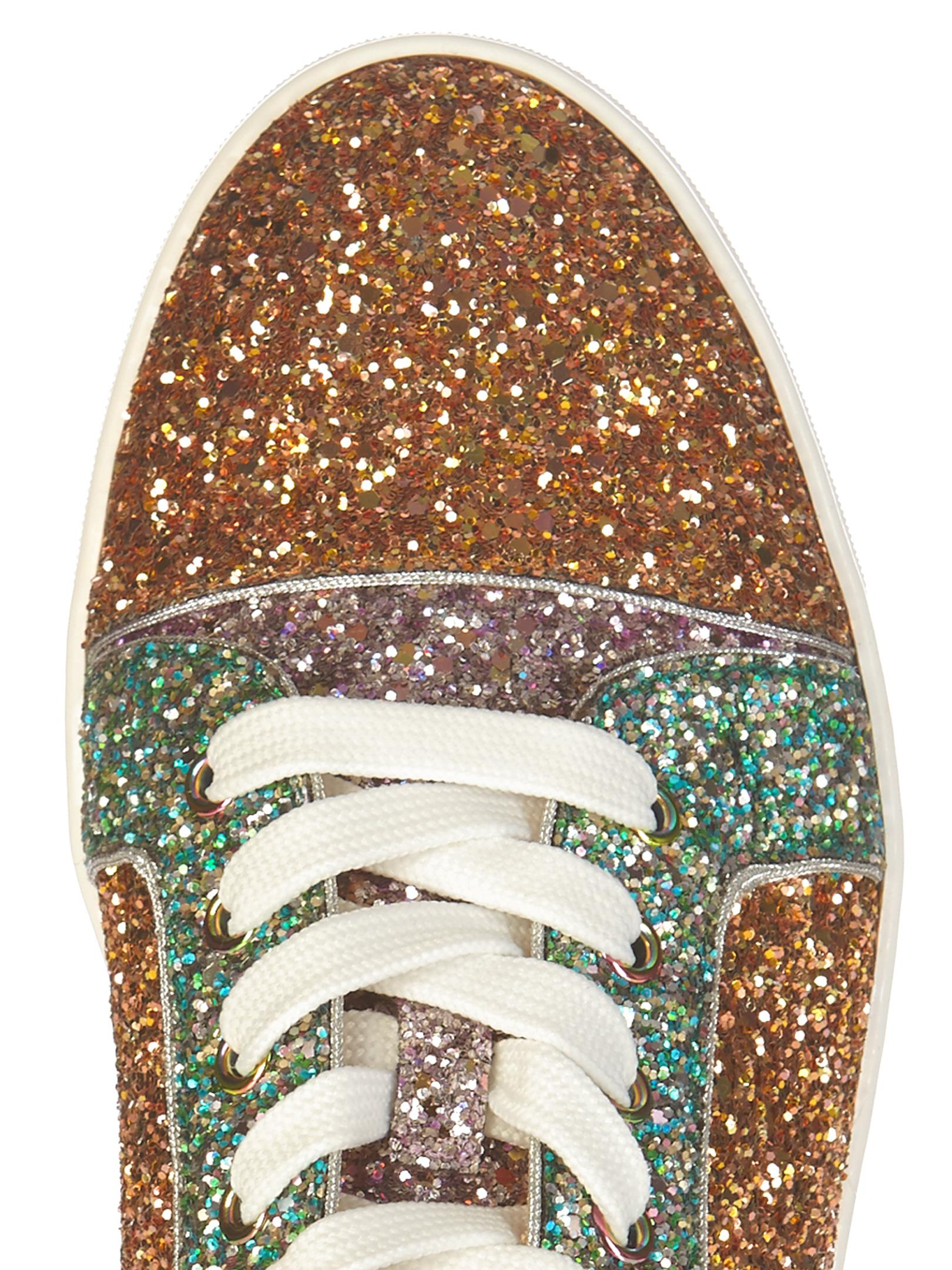 c192ad40c0a Christian Louboutin Multicolor Gondoliere Panelled-Glitter Low-top Trainers
