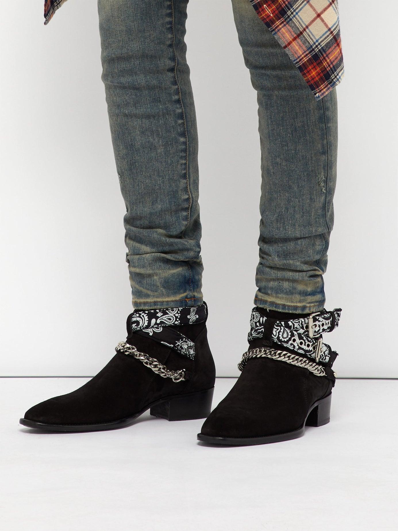 Amiri Bandana-strap Suede Boots in