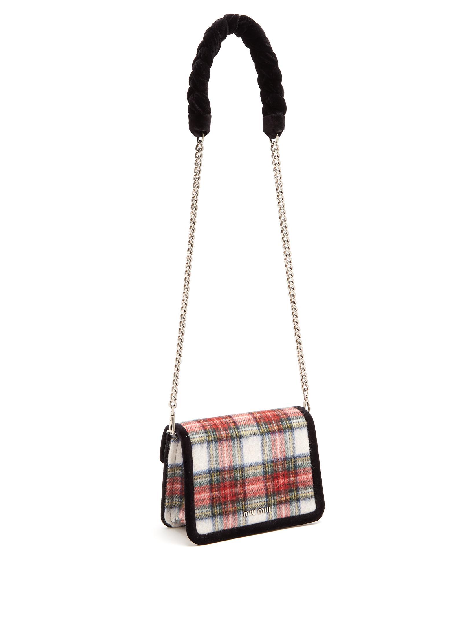 Miu Miu Velvet Braid-embellished Tartan Cross-body Bag