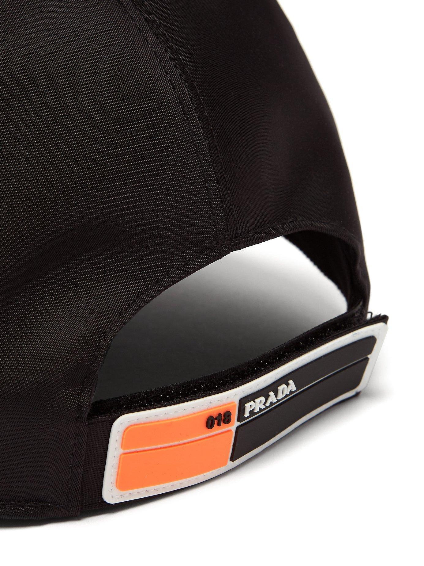 e8d582ffa36cd Lyst - Prada Logo Appliqué Nylon Cap in Black for Men