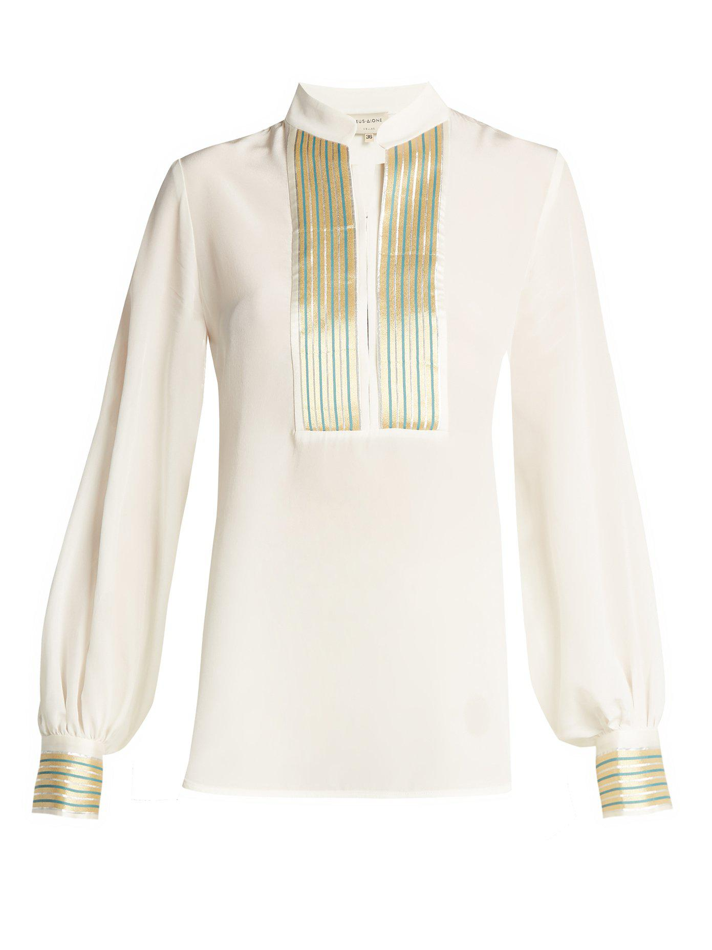 Mira jacquard-trimmed silk blouse Zeus + Dione Cheap Looking For p4qsH