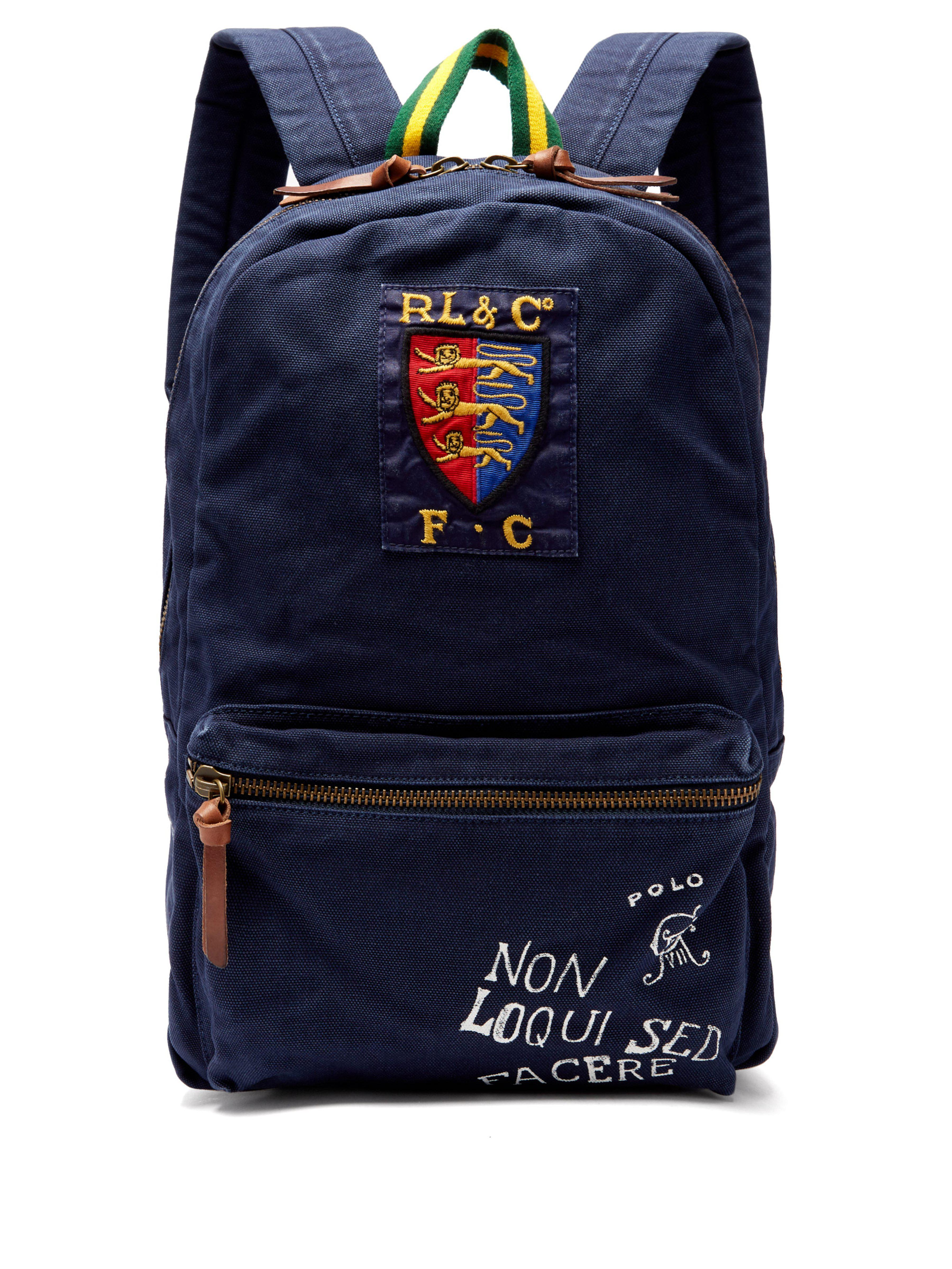 f31fac40b3b3 Polo Ralph Lauren Crest And Logo-embroidered Backpack in Blue for ...