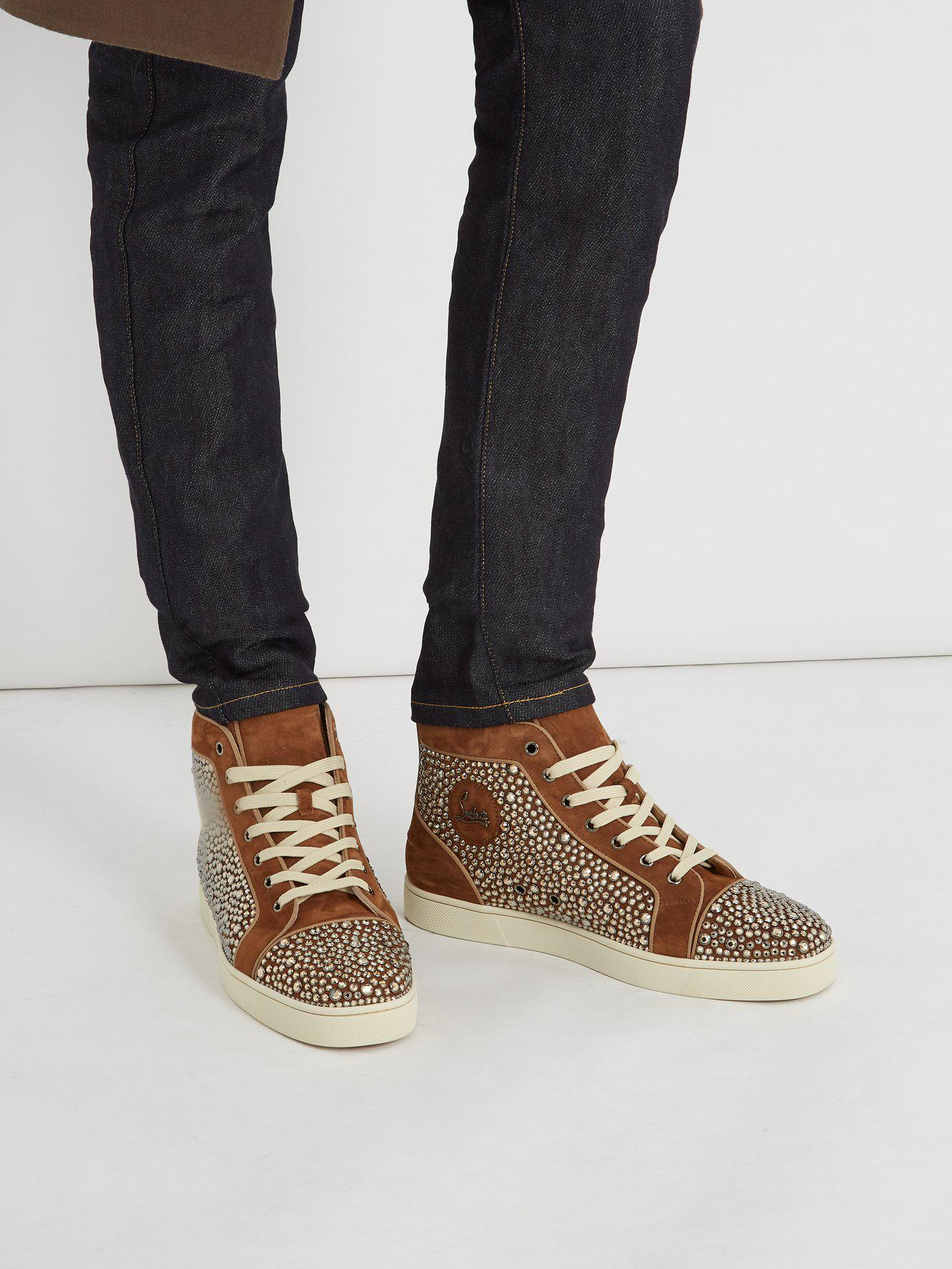 a252c251c19 Lyst - Christian Louboutin Louis Orlato High Top Leather Trainers in Brown  for Men - Save 76%