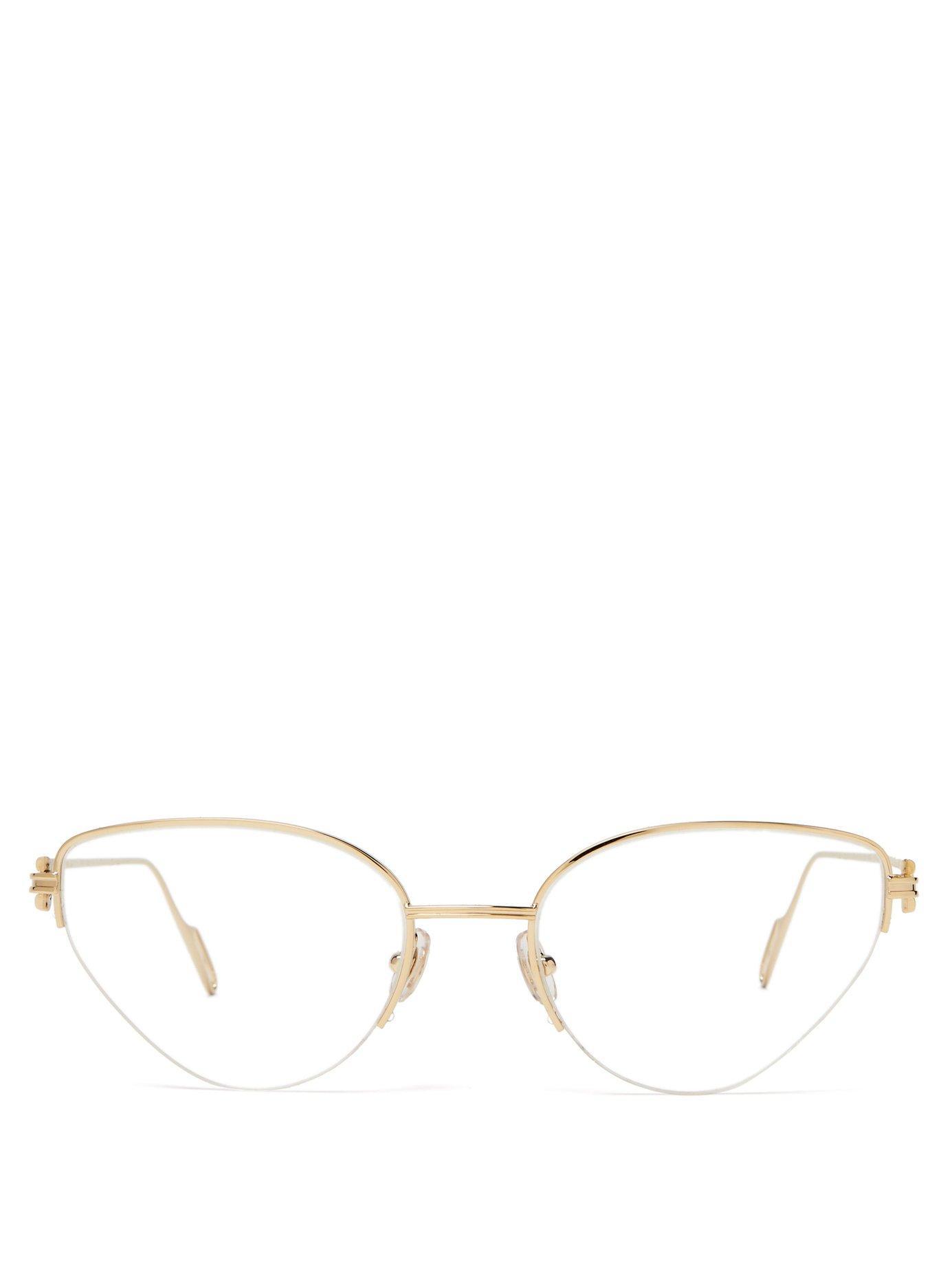 e07f25bfd7e2 Lyst - Cartier Première De Cartier Cat Eye Metal Glasses in Metallic