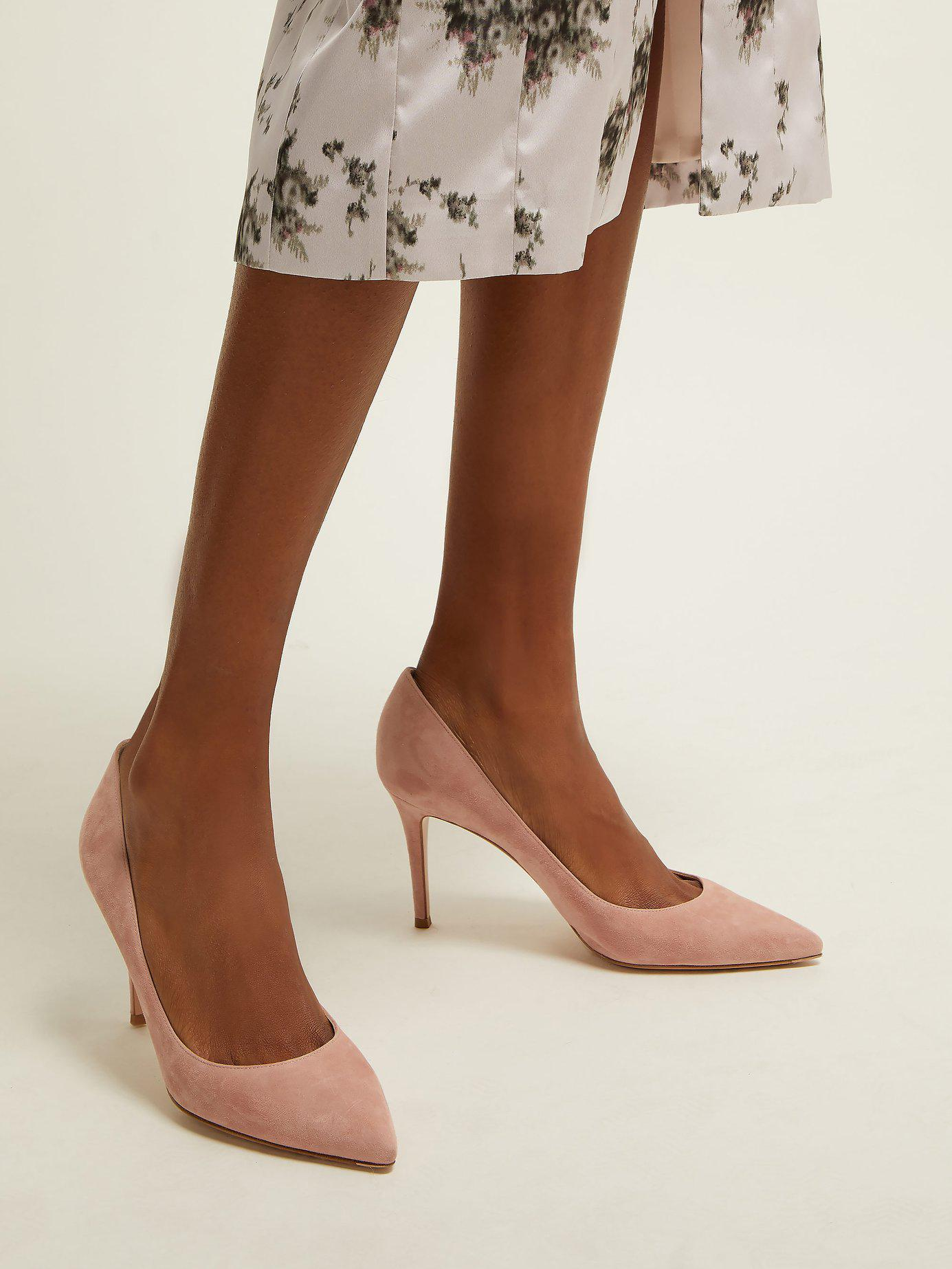 a29e5b4a430 Gianvito Rossi - Pink Gianvito 85 Point Toe Suede Pumps - Lyst. View  fullscreen