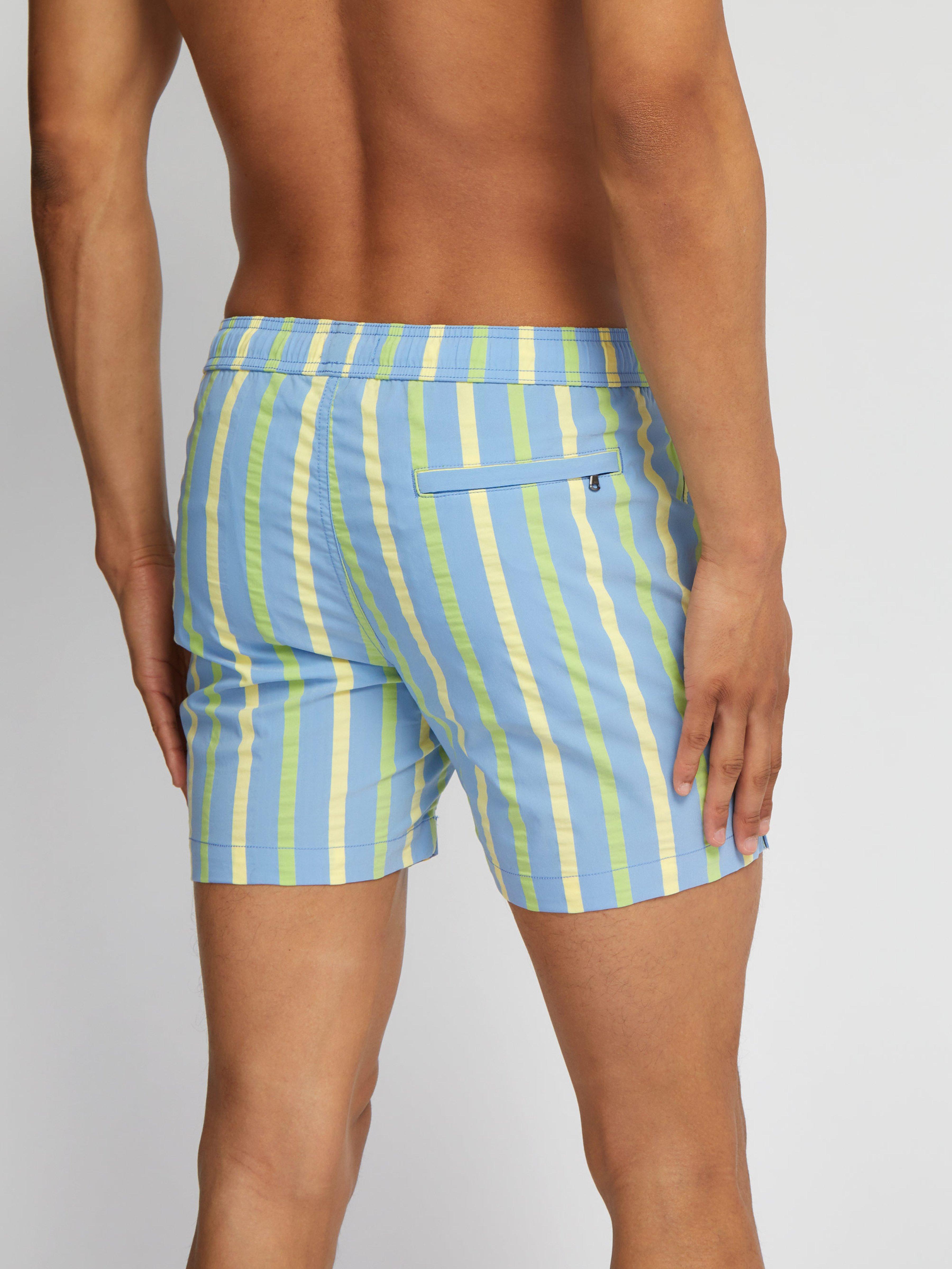 16066625b2170 Onia - Blue Charles 5 Striped Swim Trunks for Men - Lyst. View fullscreen