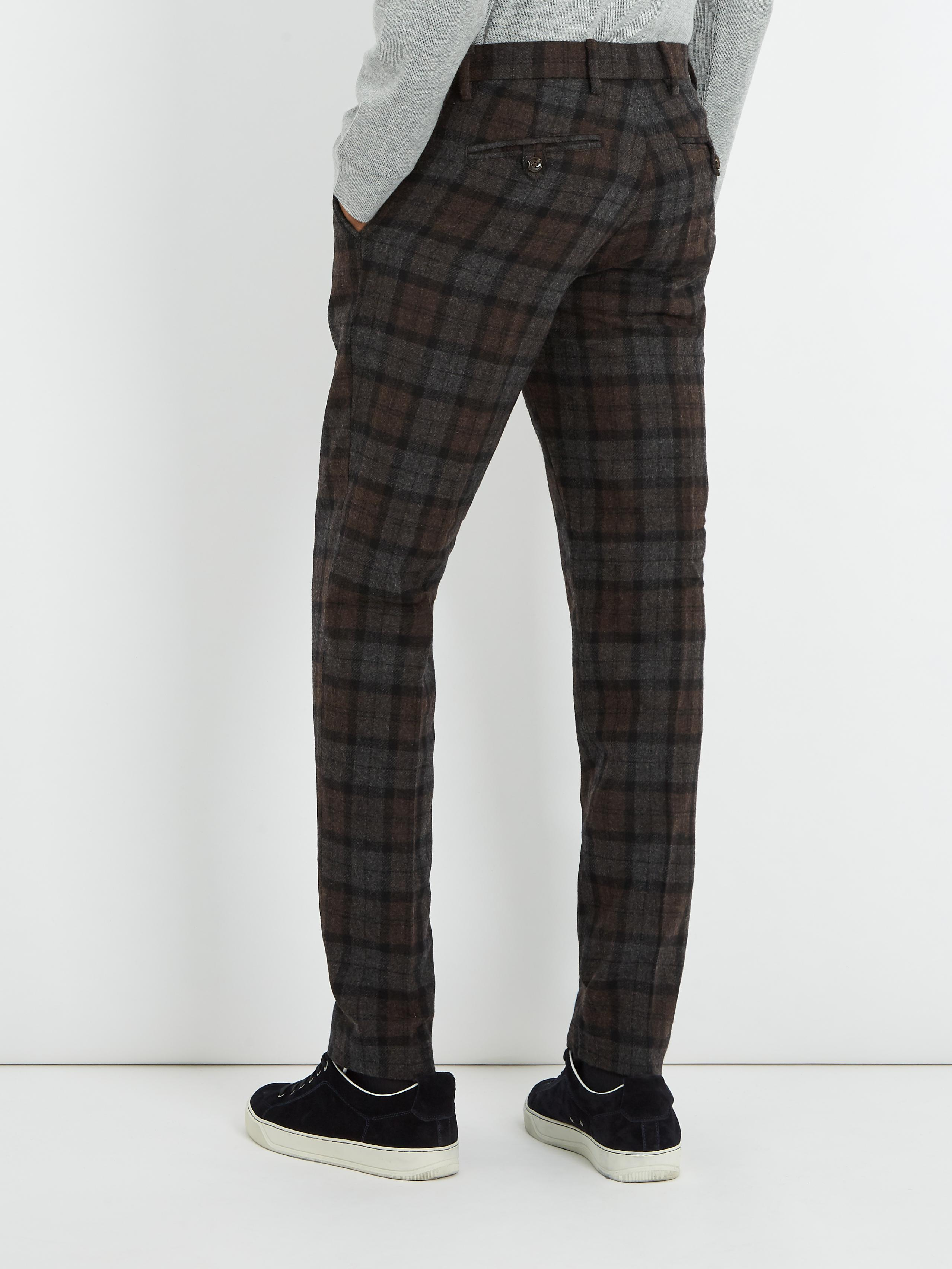 Saturdays NYC Panos Slim-leg Checked Wool-blend Trousers in Grey (Grey) for Men