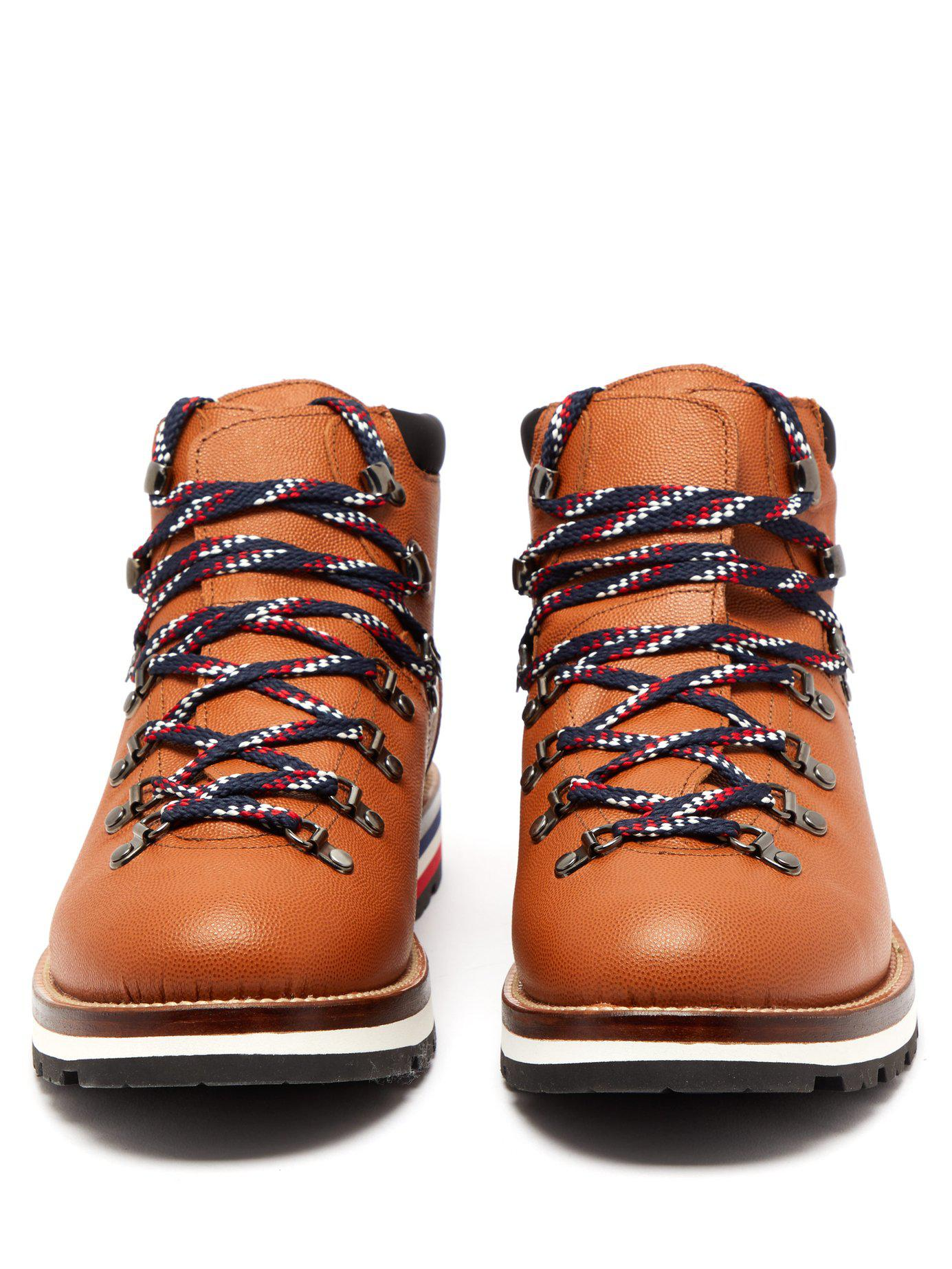 0b7236c75404 Moncler - Brown Peak Lace Up Leather Boots for Men - Lyst. View fullscreen
