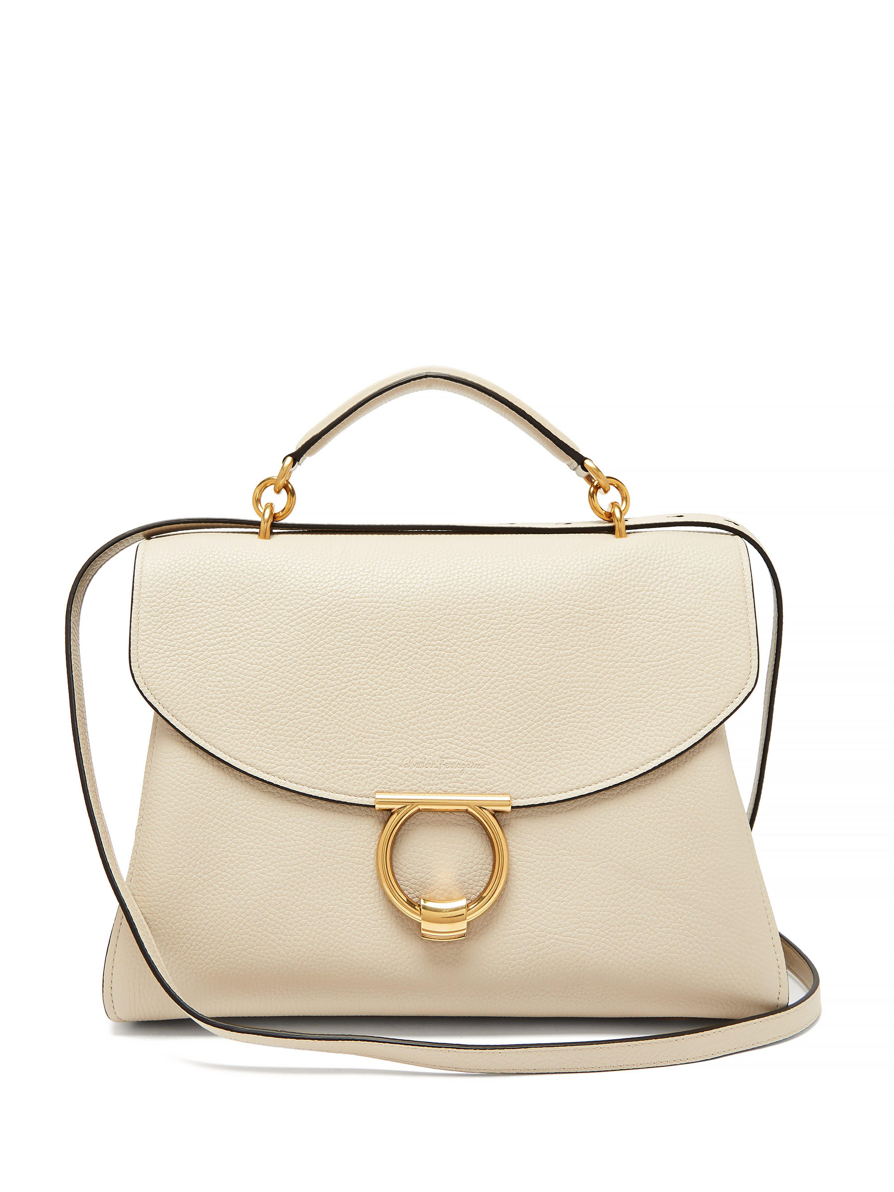 90e26e02d952 Ferragamo Margot Grained Leather Shoulder Bag in Natural - Lyst