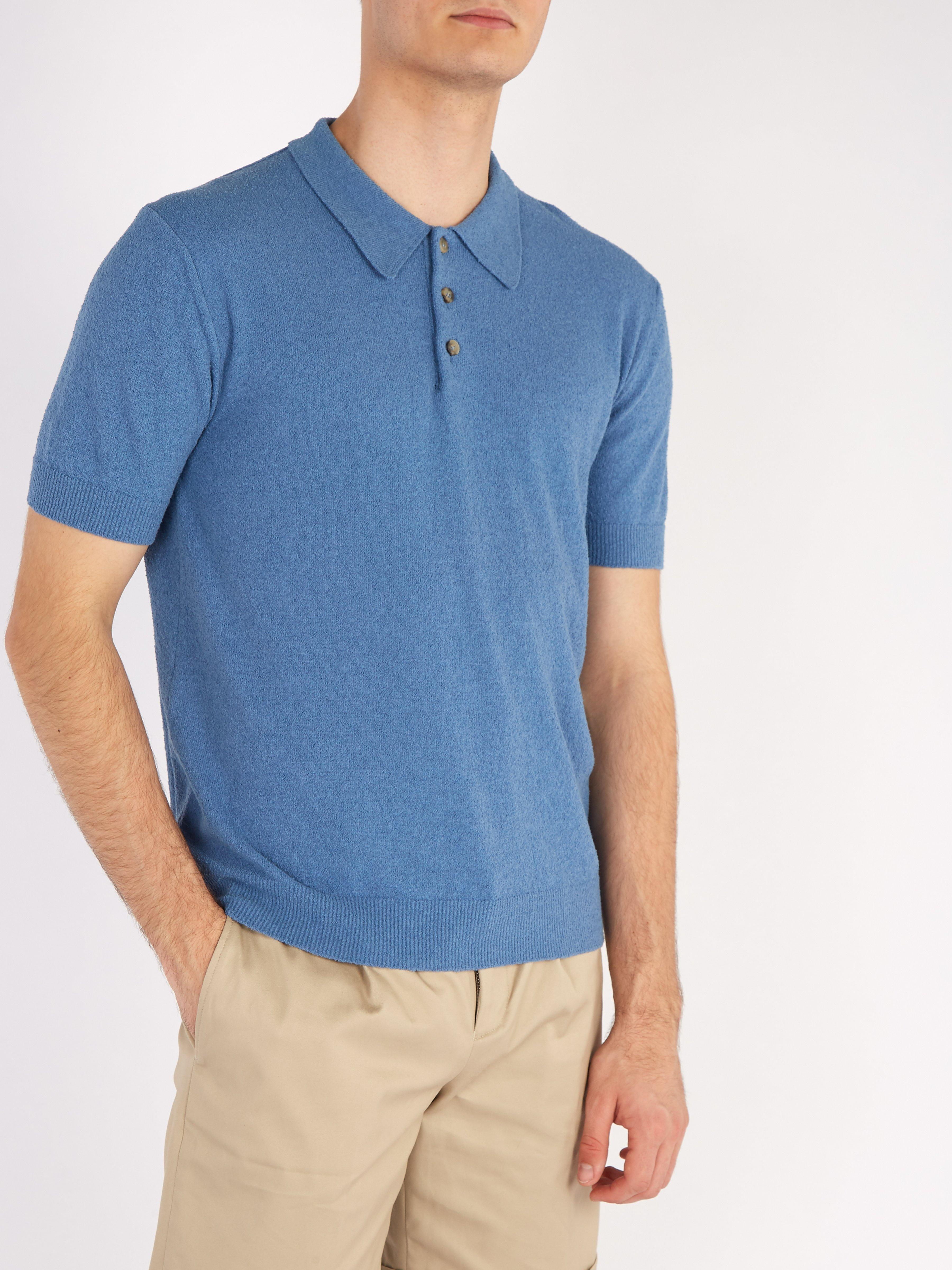 96176ac2312f Éditions MR Jude Terry Towelling Cotton Blend Polo Shirt in Blue for ...