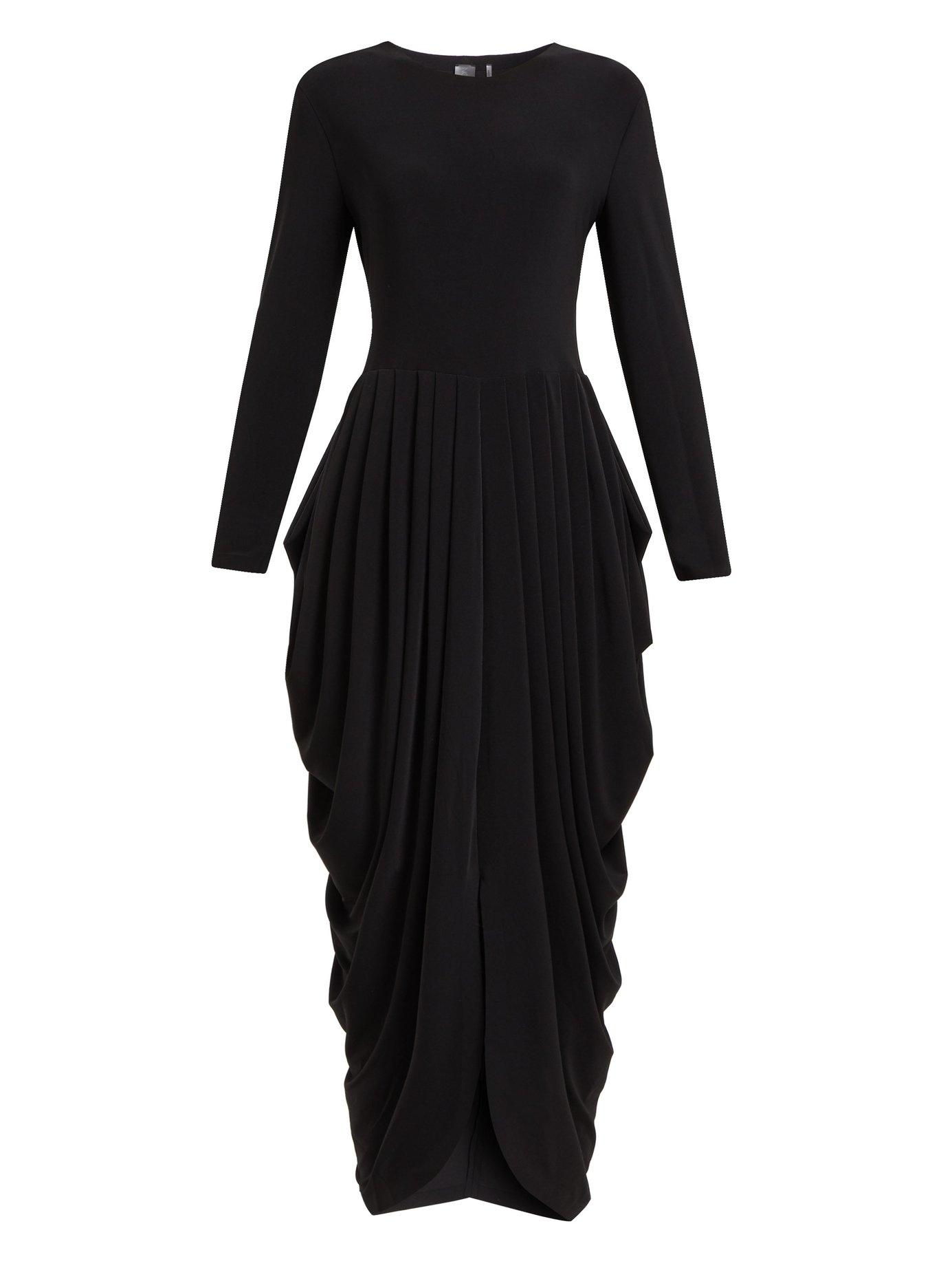 316b8dd0aee5 Lyst - Norma Kamali Waterfall Pleated Jersey Dress in Black