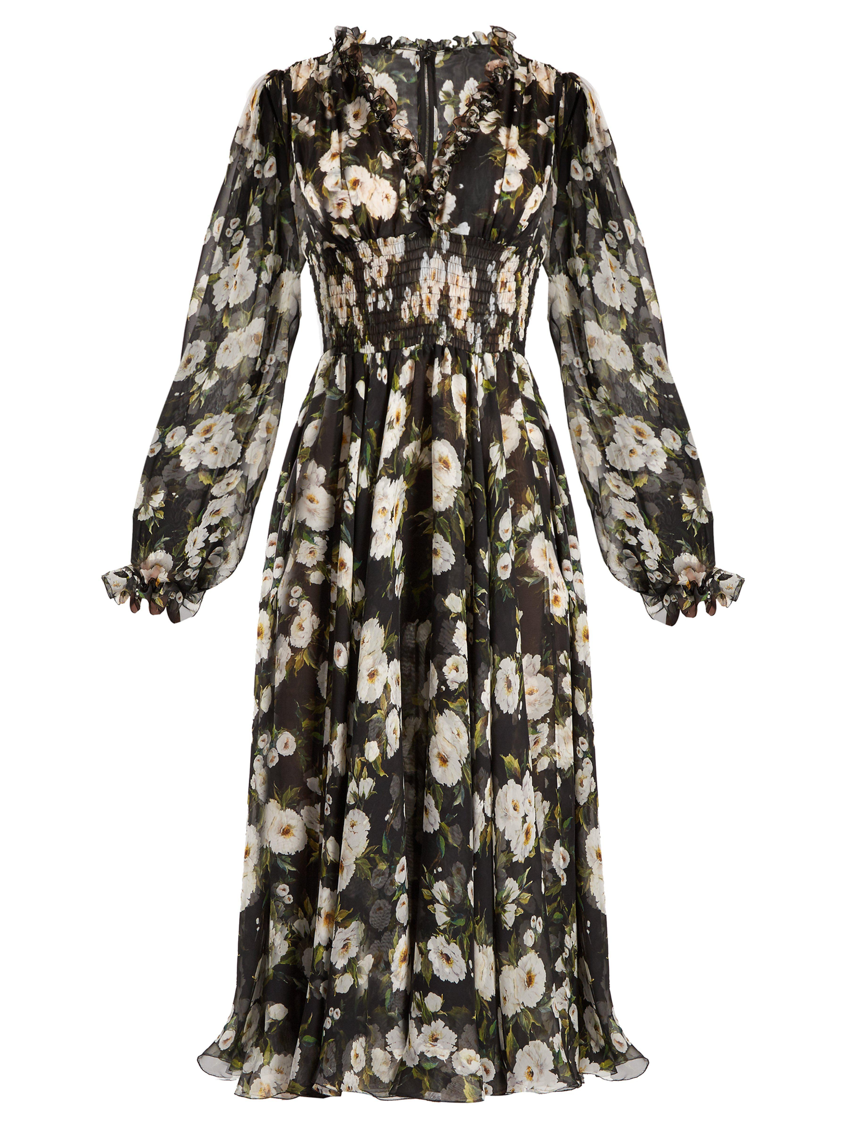 1ffd320aebf Dolce & Gabbana - Black Floral-print Ruffle-trimmed Chiffon Dress - Lyst