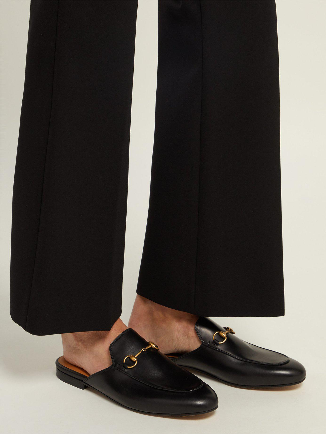 e0a33ea58cf Gucci - Black Princetown Leather Backless Loafers - Lyst. View fullscreen