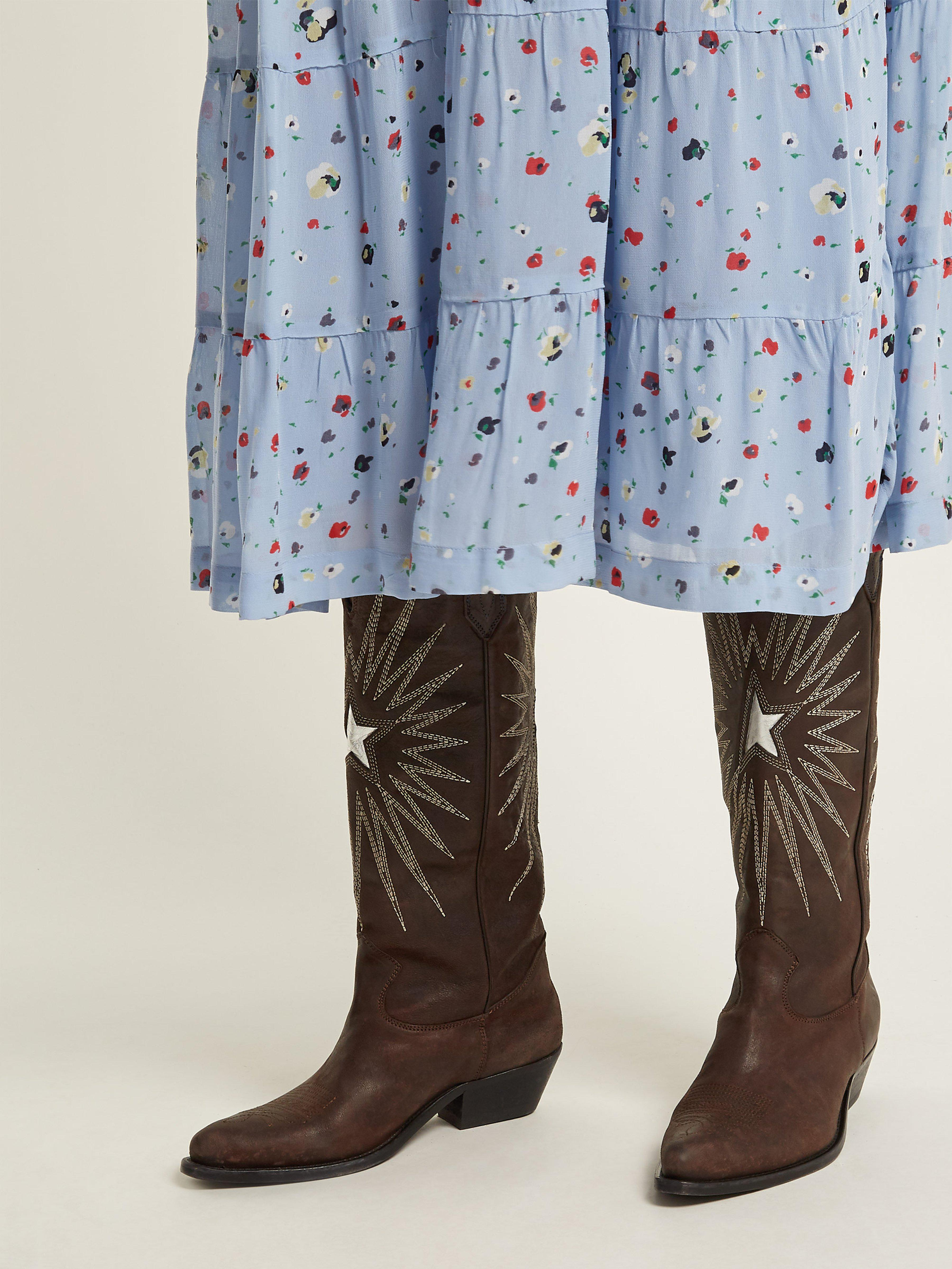 dc88719f49f5 Golden Goose Deluxe Brand Wish Star Embroidered Leather Boots in ...