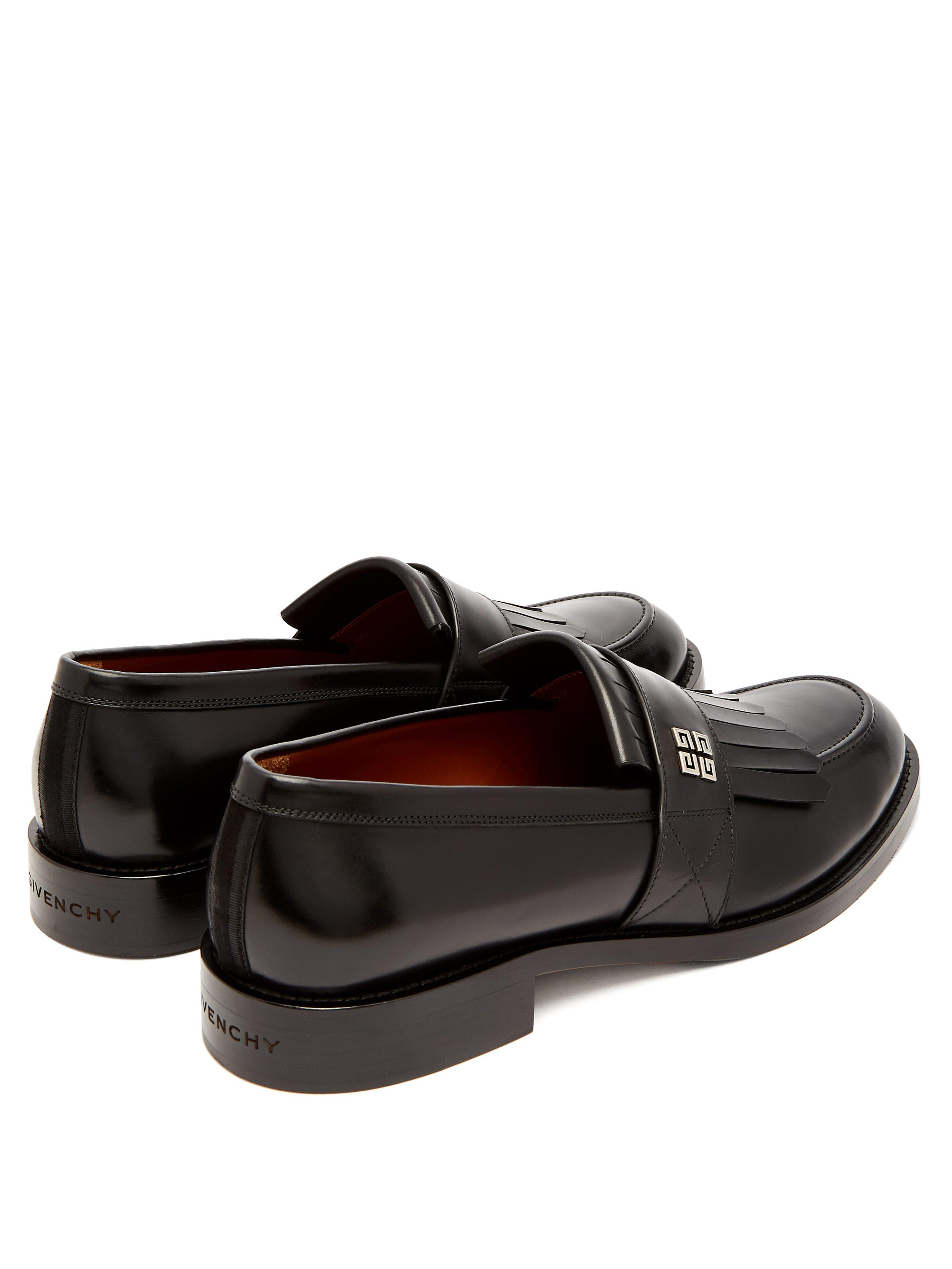 Givenchy 4g Logo Fringed Leather Loafers in Black for Men