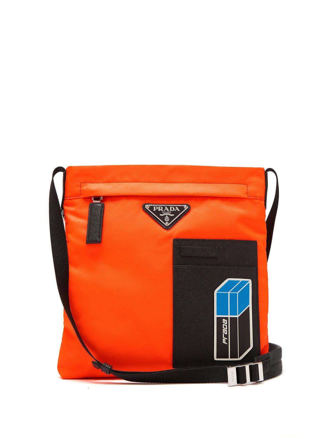 d06d4a25057c4c Prada Logo-plaque Nylon Cross-body Bag in Orange for Men - Lyst