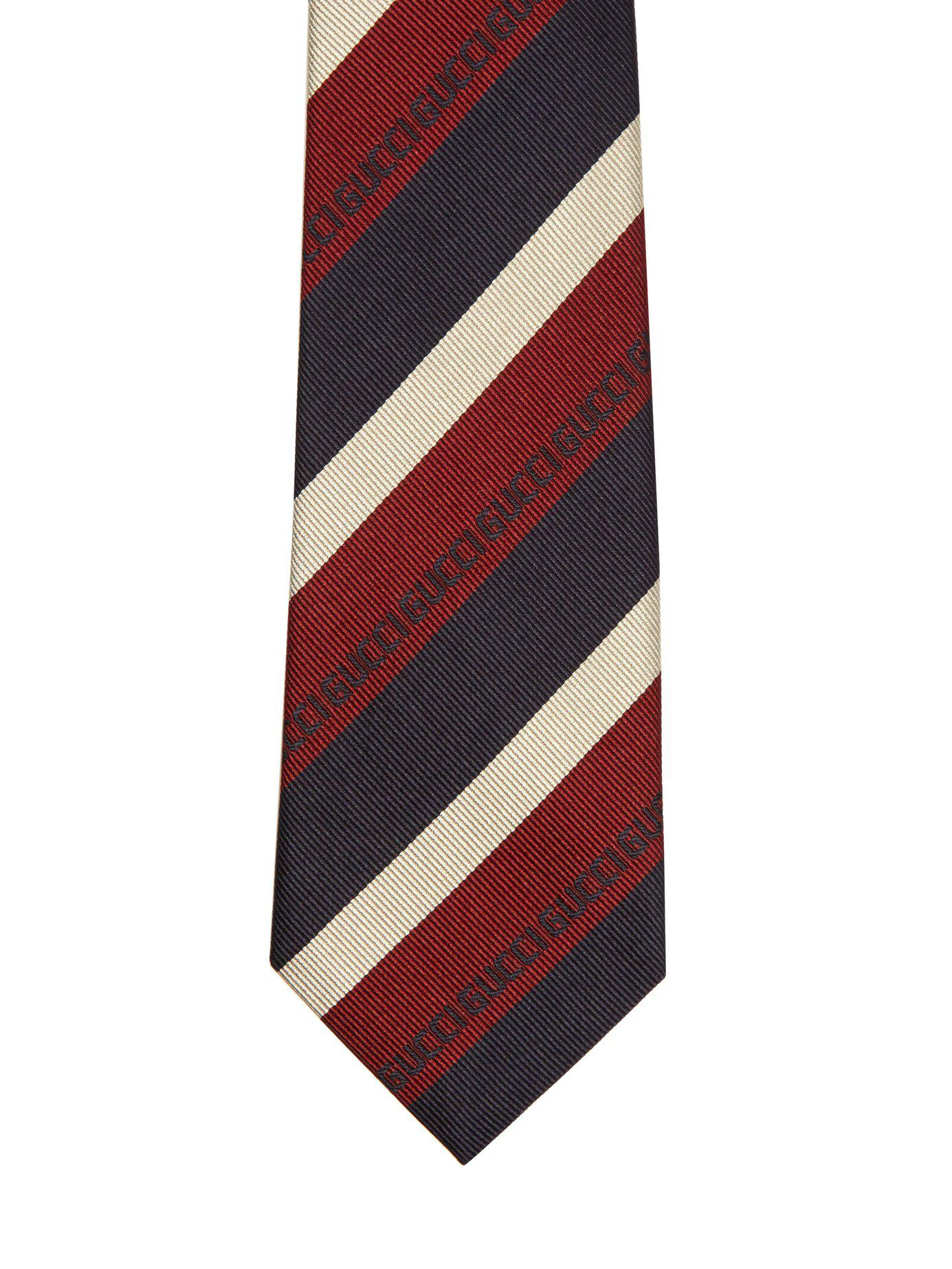 f427c86c7219 Gucci - Red Schoolboy Stripe Silk Tie for Men - Lyst. View fullscreen