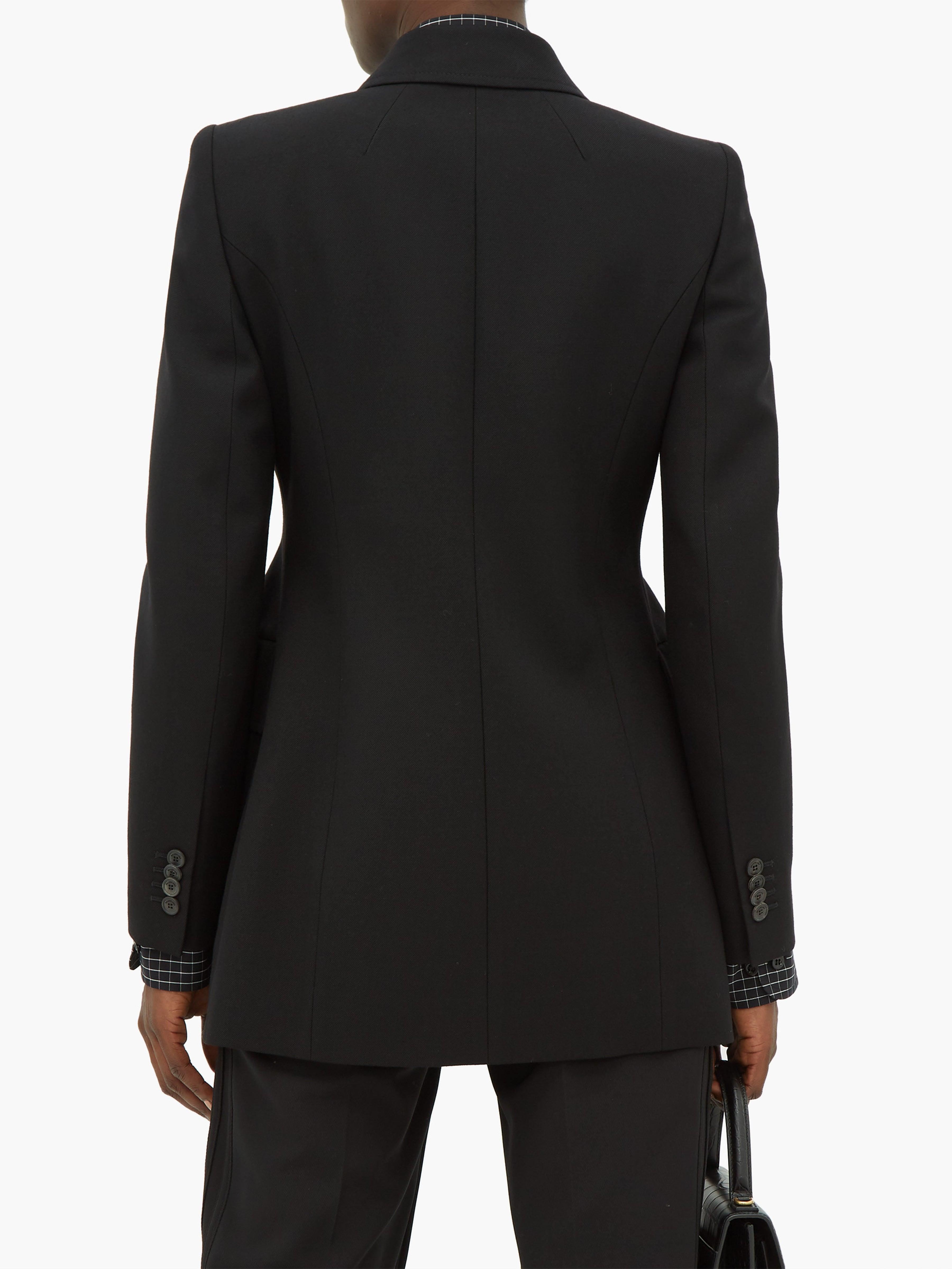 Blazer en laine à double boutonnage Hourglass Laines Balenciaga en coloris Noir